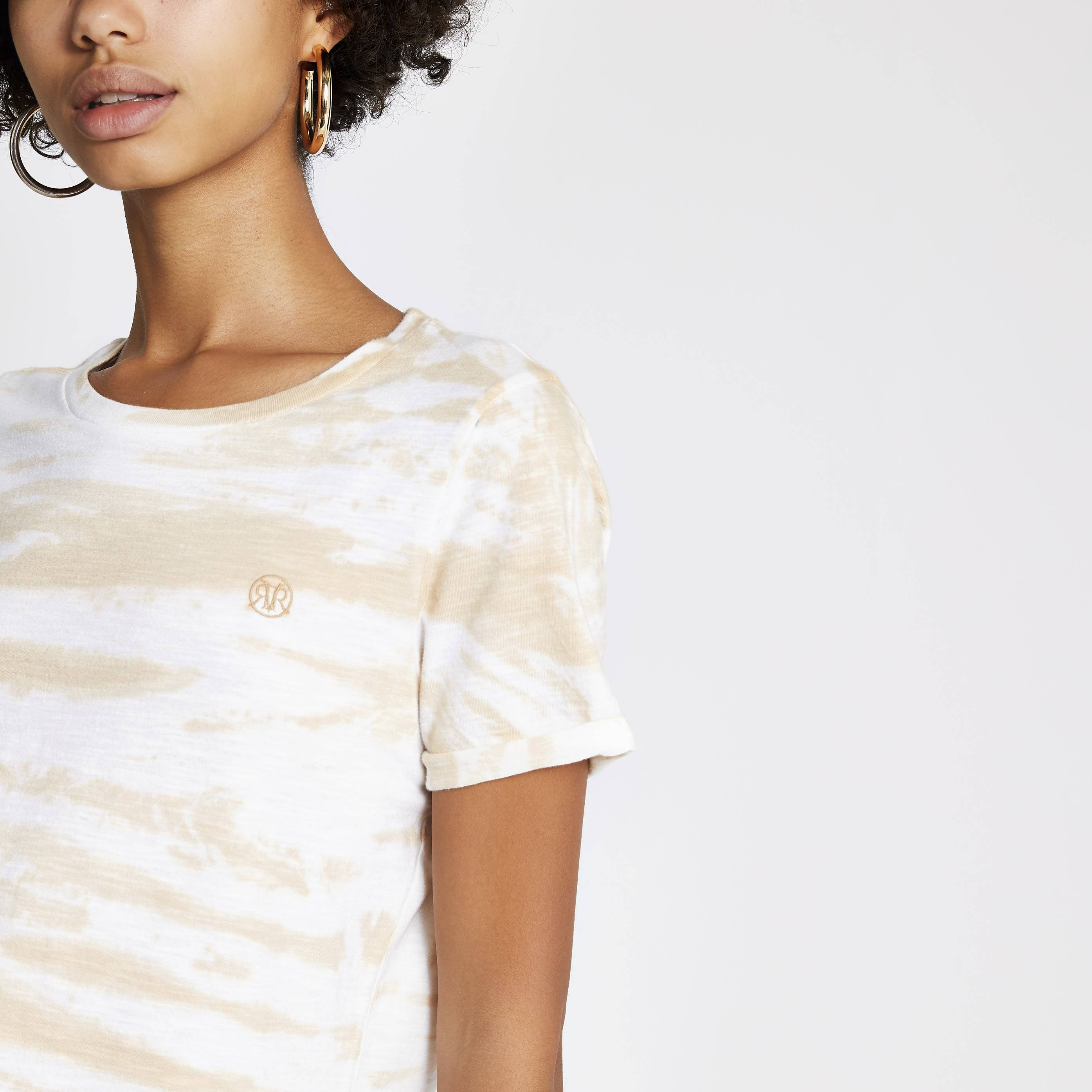 River Island Womens Beige tie dye RI turn up sleeve T-shirt (6)