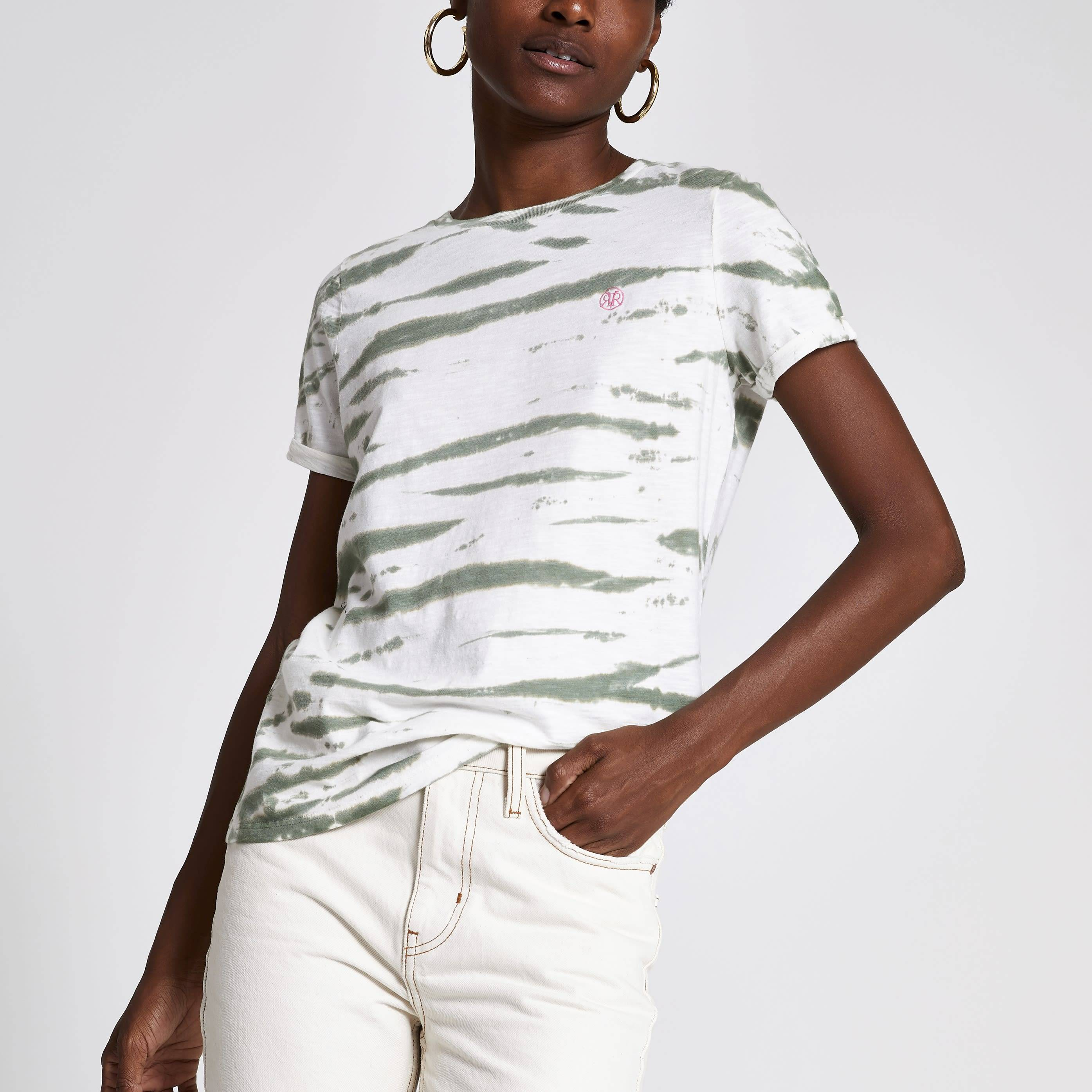 River Island Womens Green tie dye print turn up sleeve T-shirt (10)