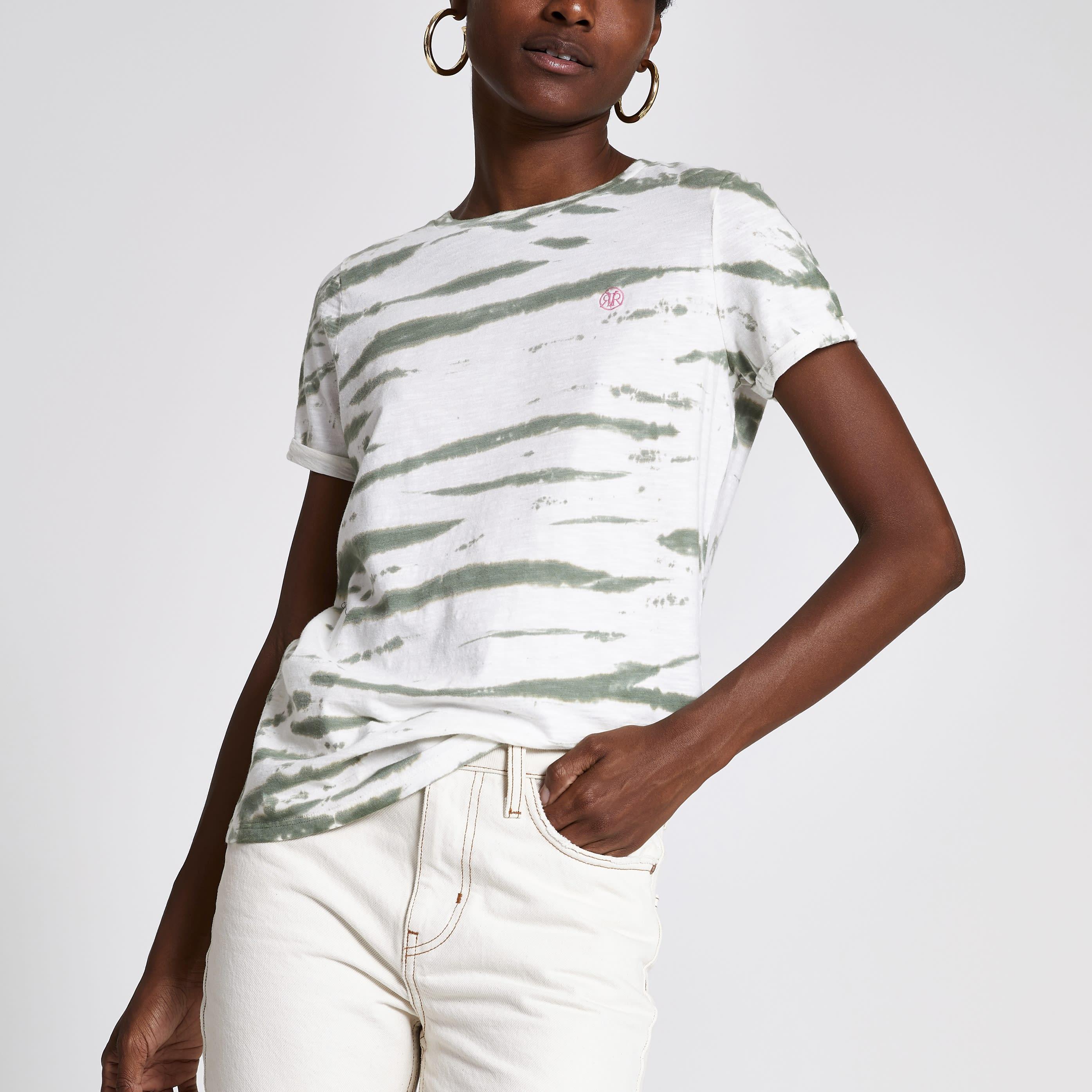 River Island Womens Green tie dye print turn up sleeve T-shirt (6)