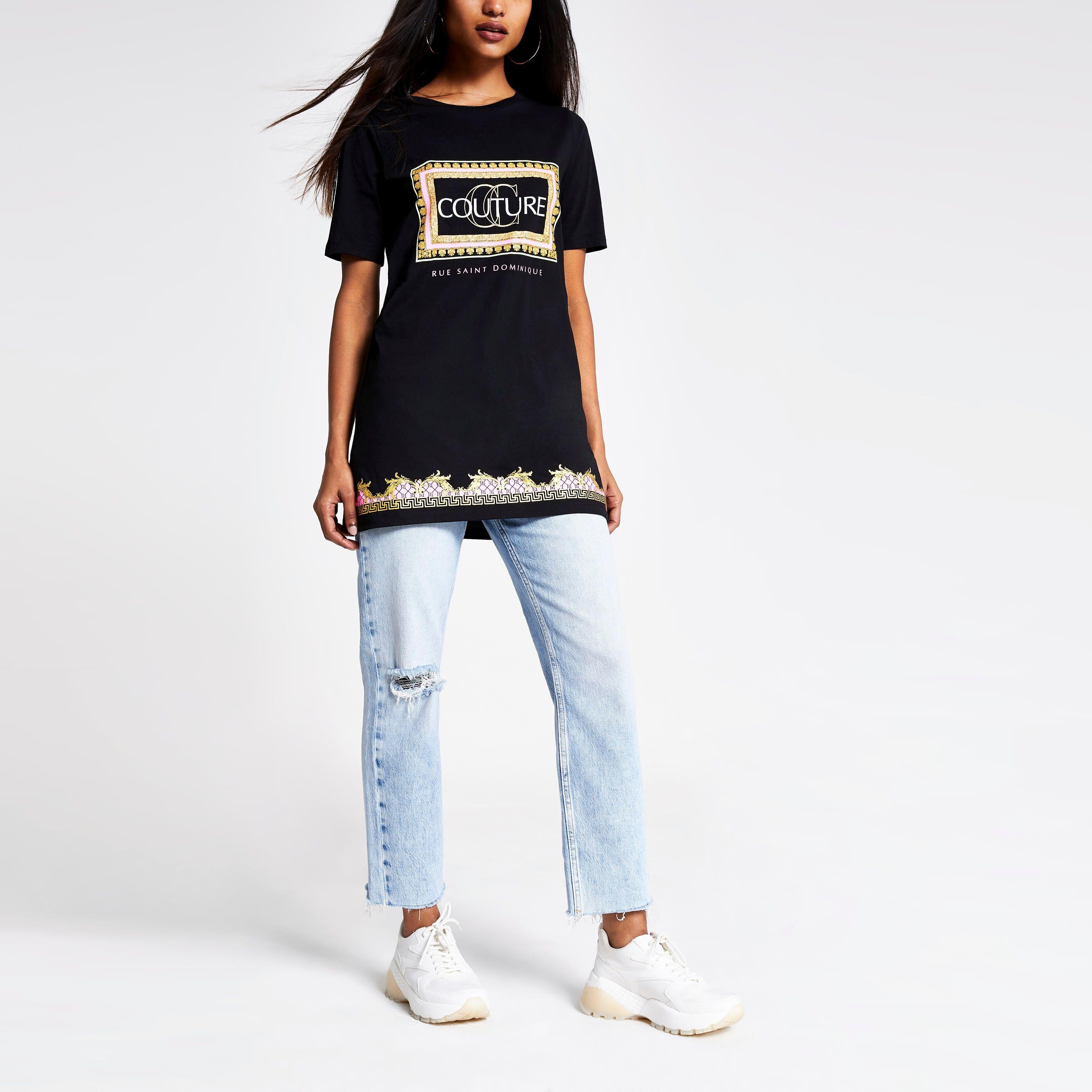 River Island Womens Petite Black printed jumbo T-shirt (14)