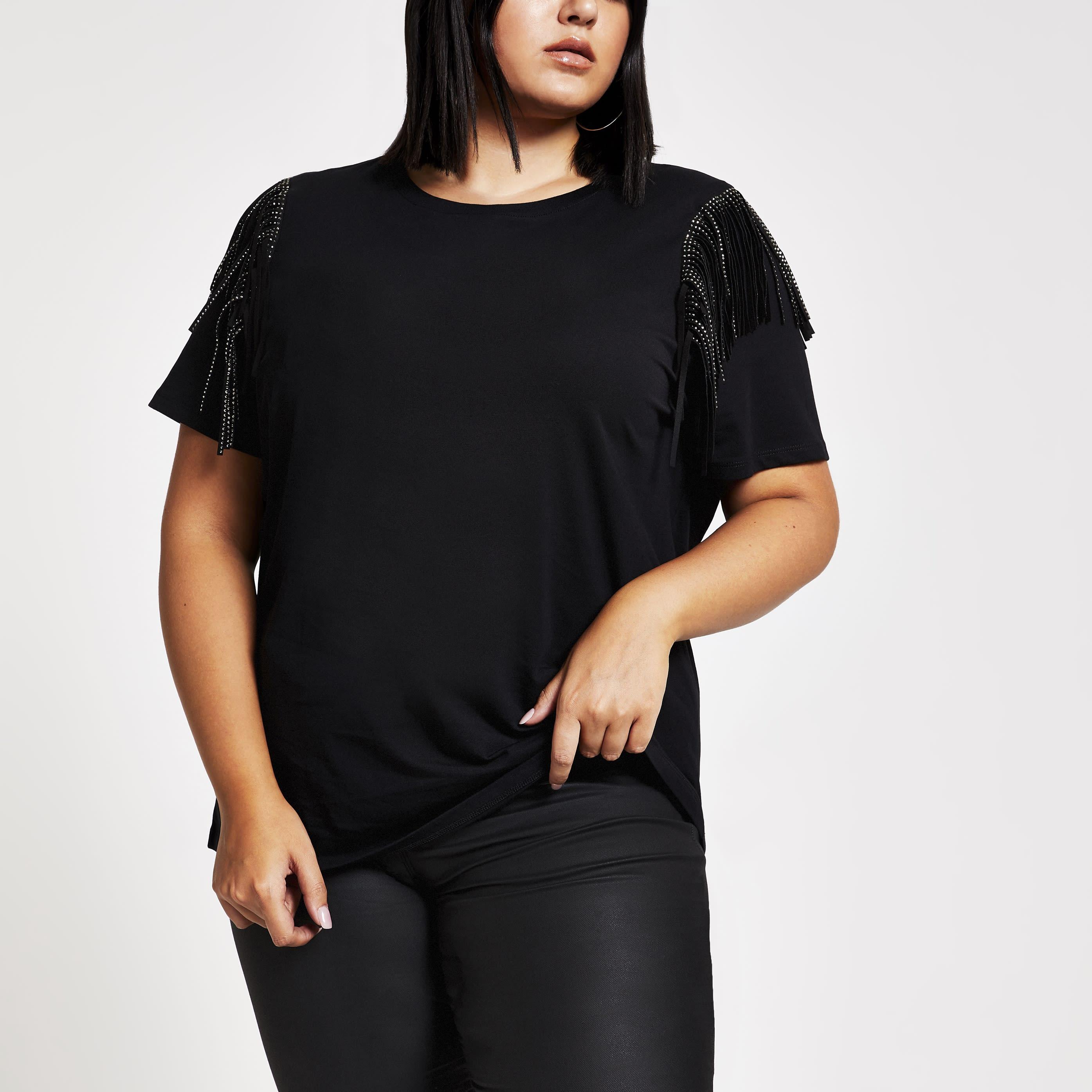 River Island Womens Plus Size Black fringe embellished T-shirt (24)