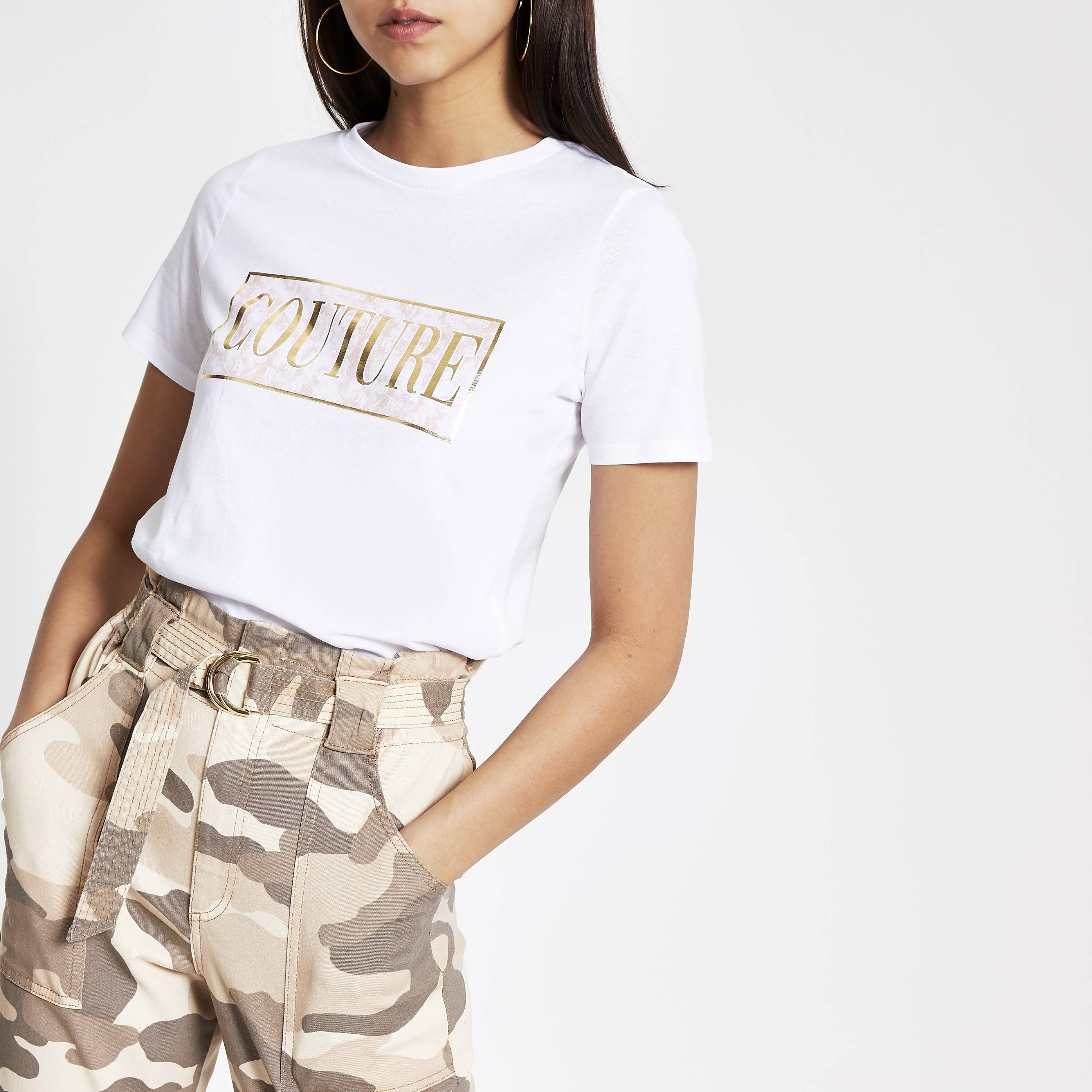 River Island Womens White 'Couture' tie dye T-shirt (8)