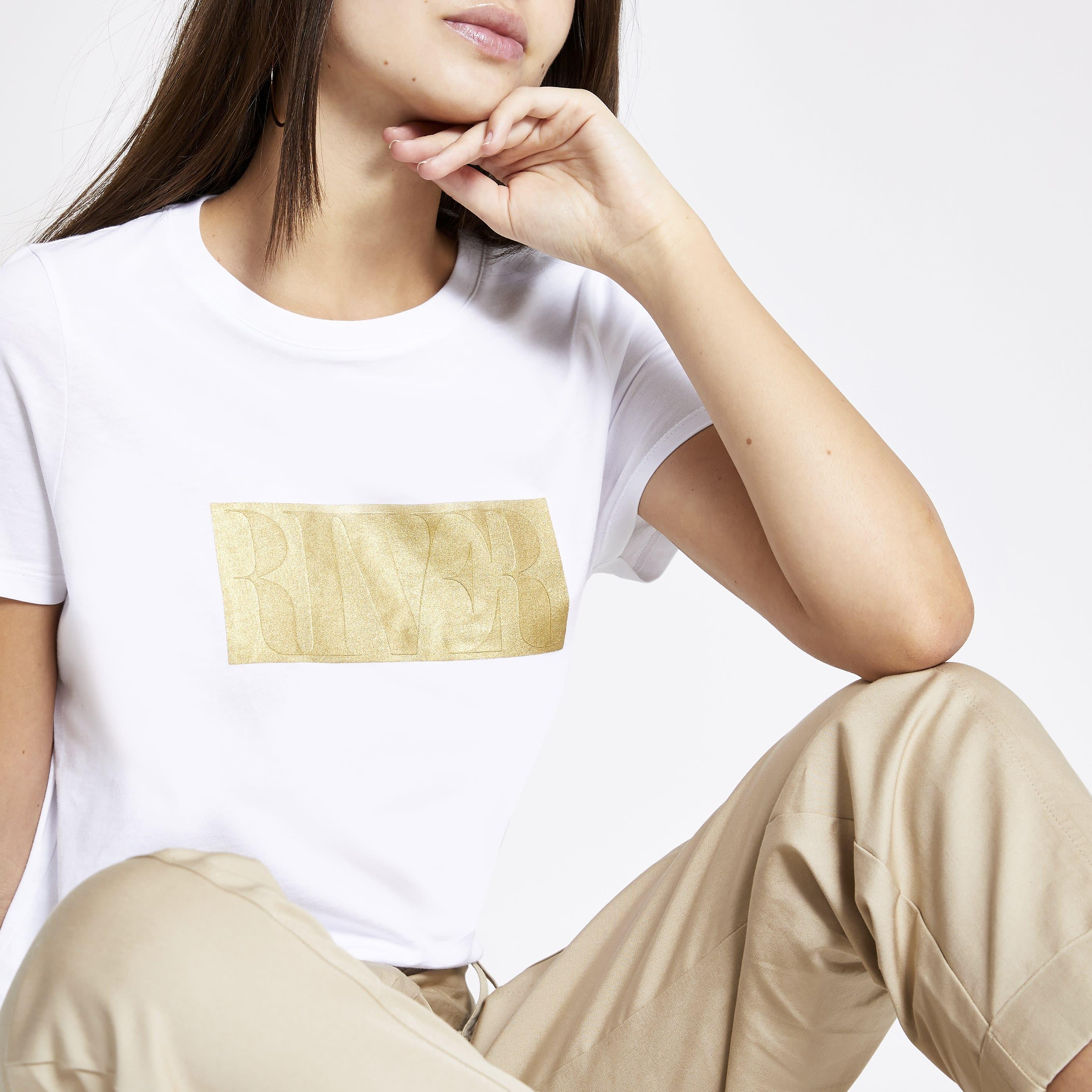 River Island Womens White RI embossed T-shirt (8)