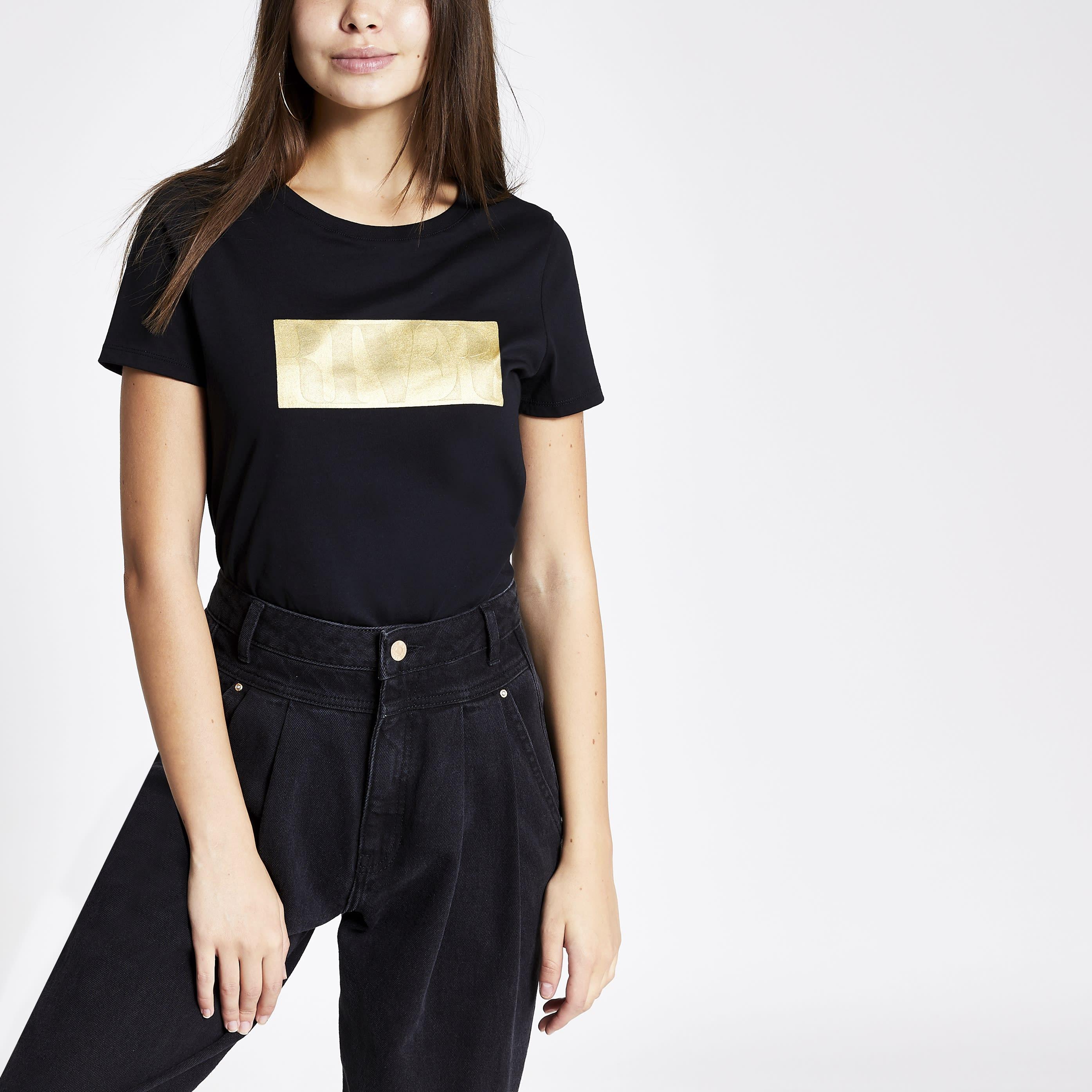 River Island Womens Black RI embossed T-shirt (12)
