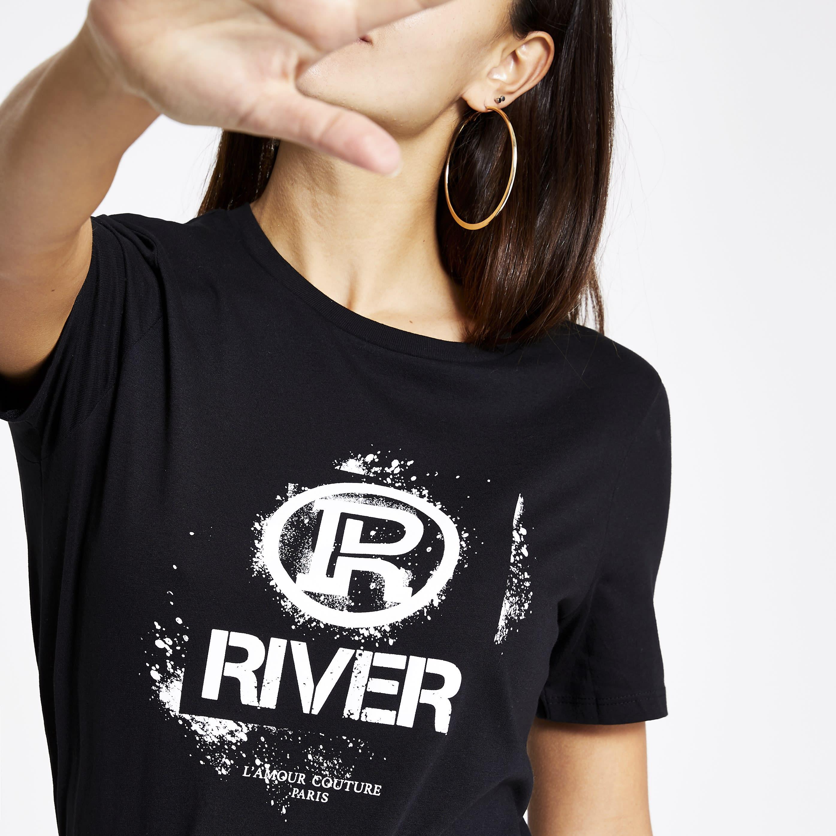 River Island Womens Black RI graffiti print fitted T-shirt (16)