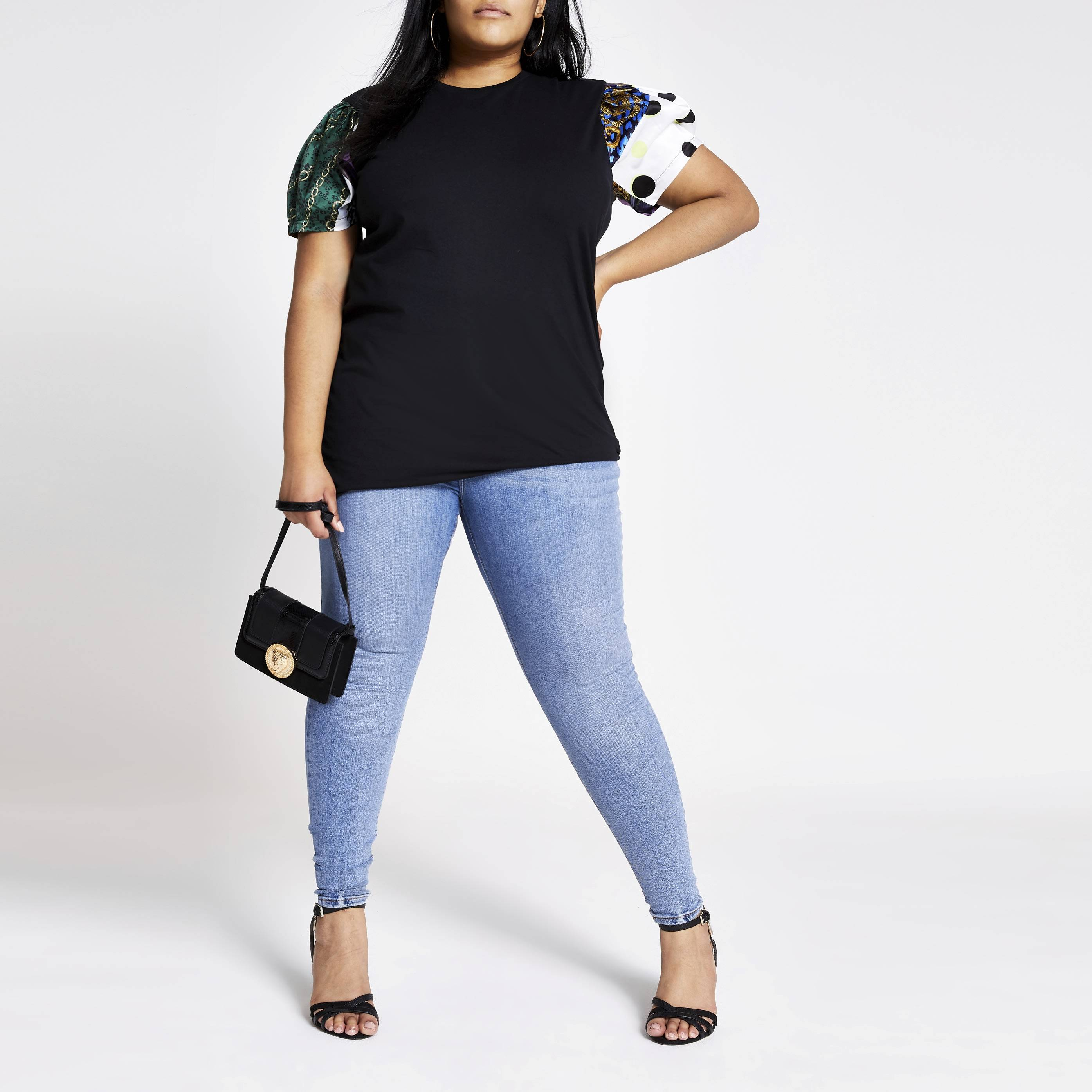 River Island Womens Plus Size Black mixed print short sleeve T-shirt (18)