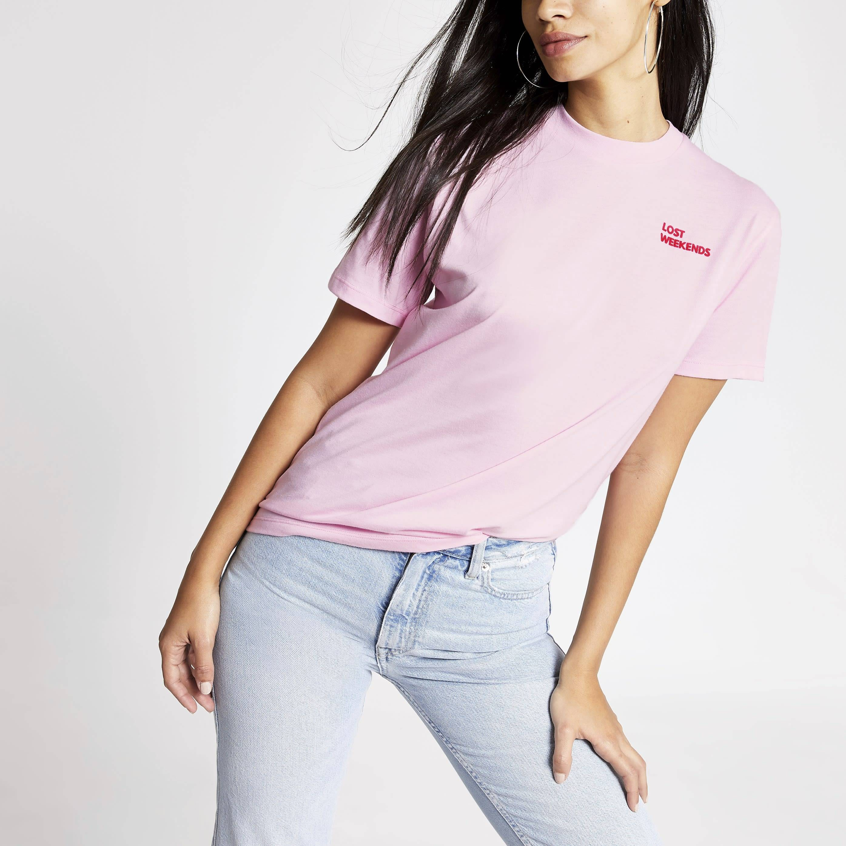 River Island Womens Tee & Cake Pink 'Lost weekends' T-shirt (XL)