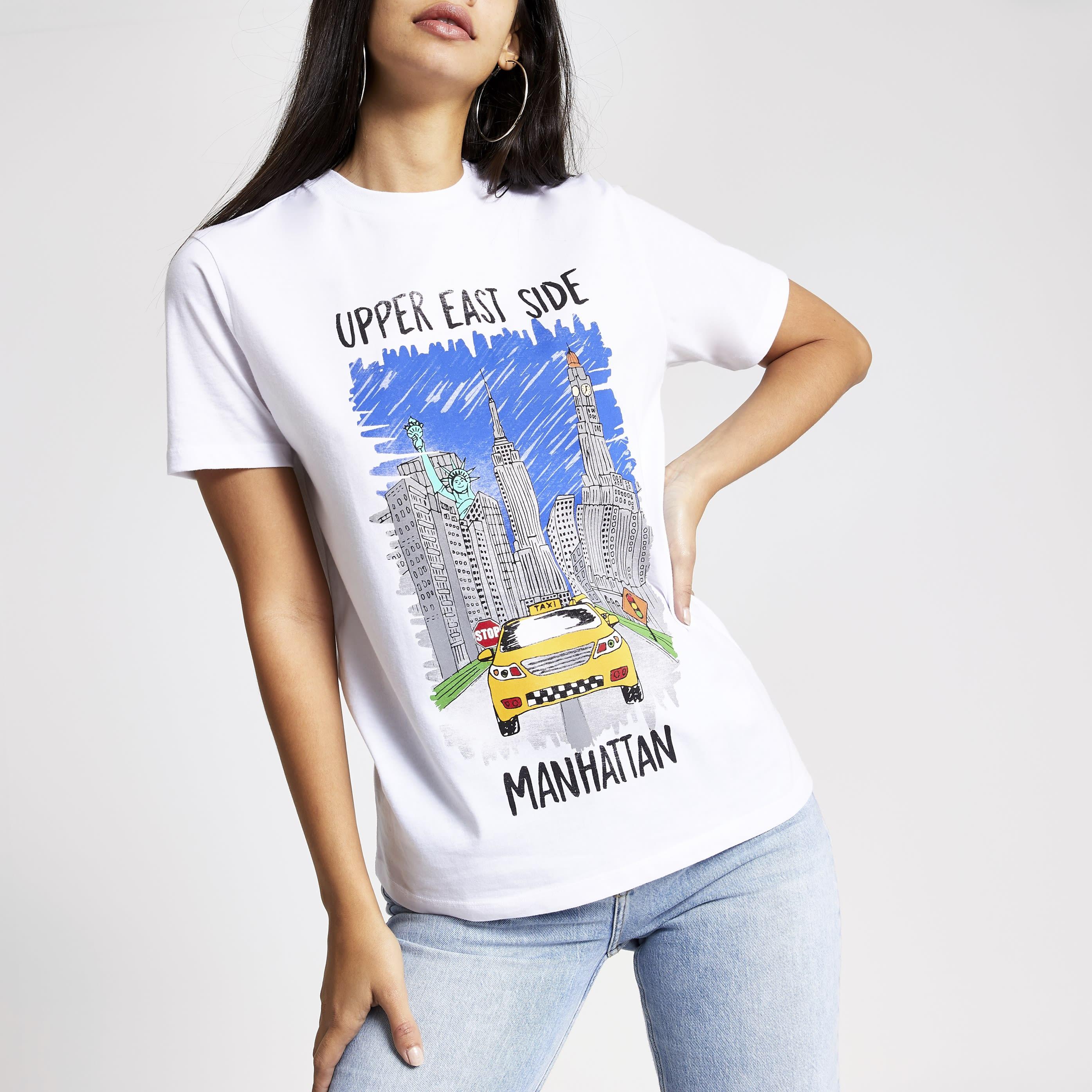 River Island Womens Tee & Cake White printed T-shirt (M)