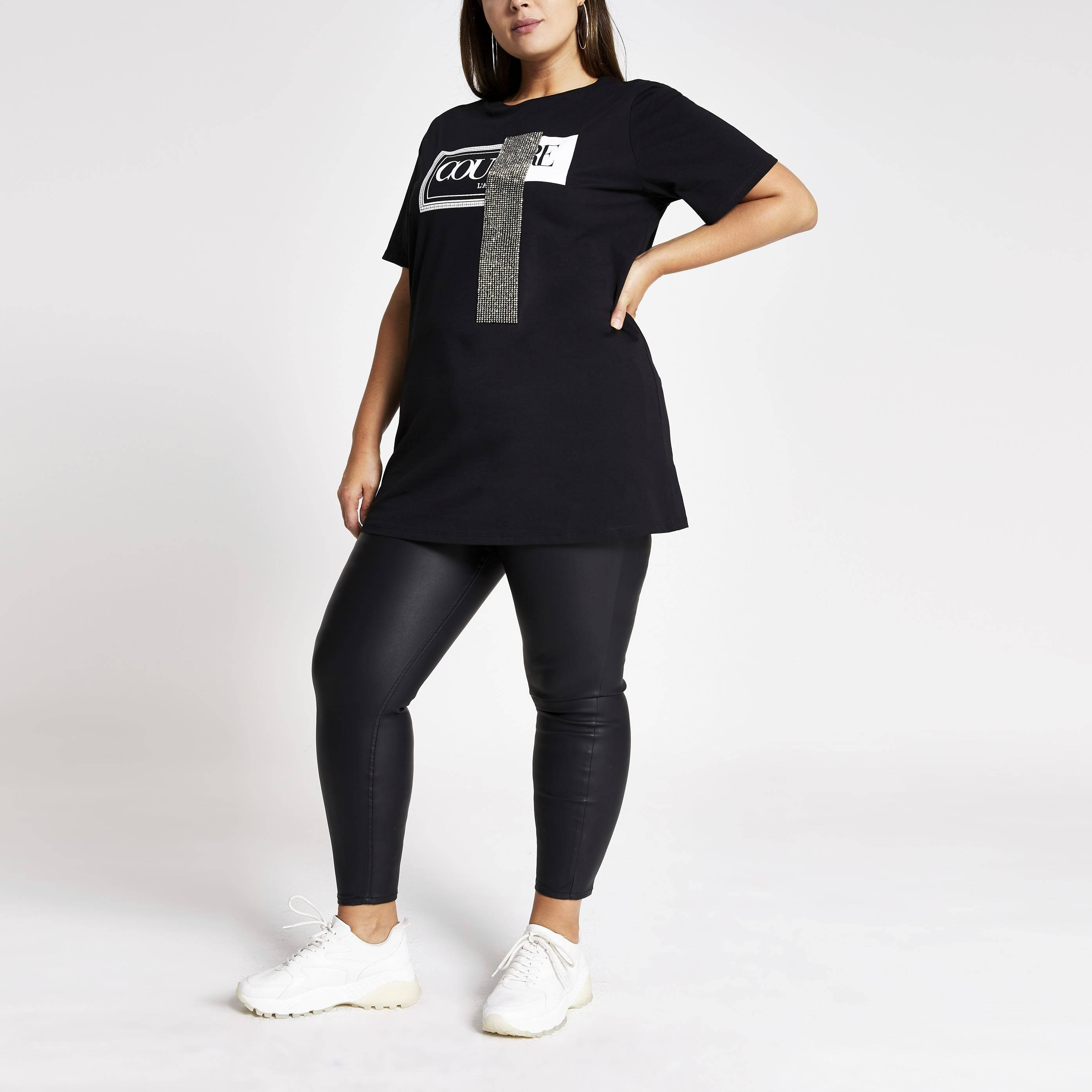 River Island Womens Plus Size Black 'Couture' embellished T-shirt (22)
