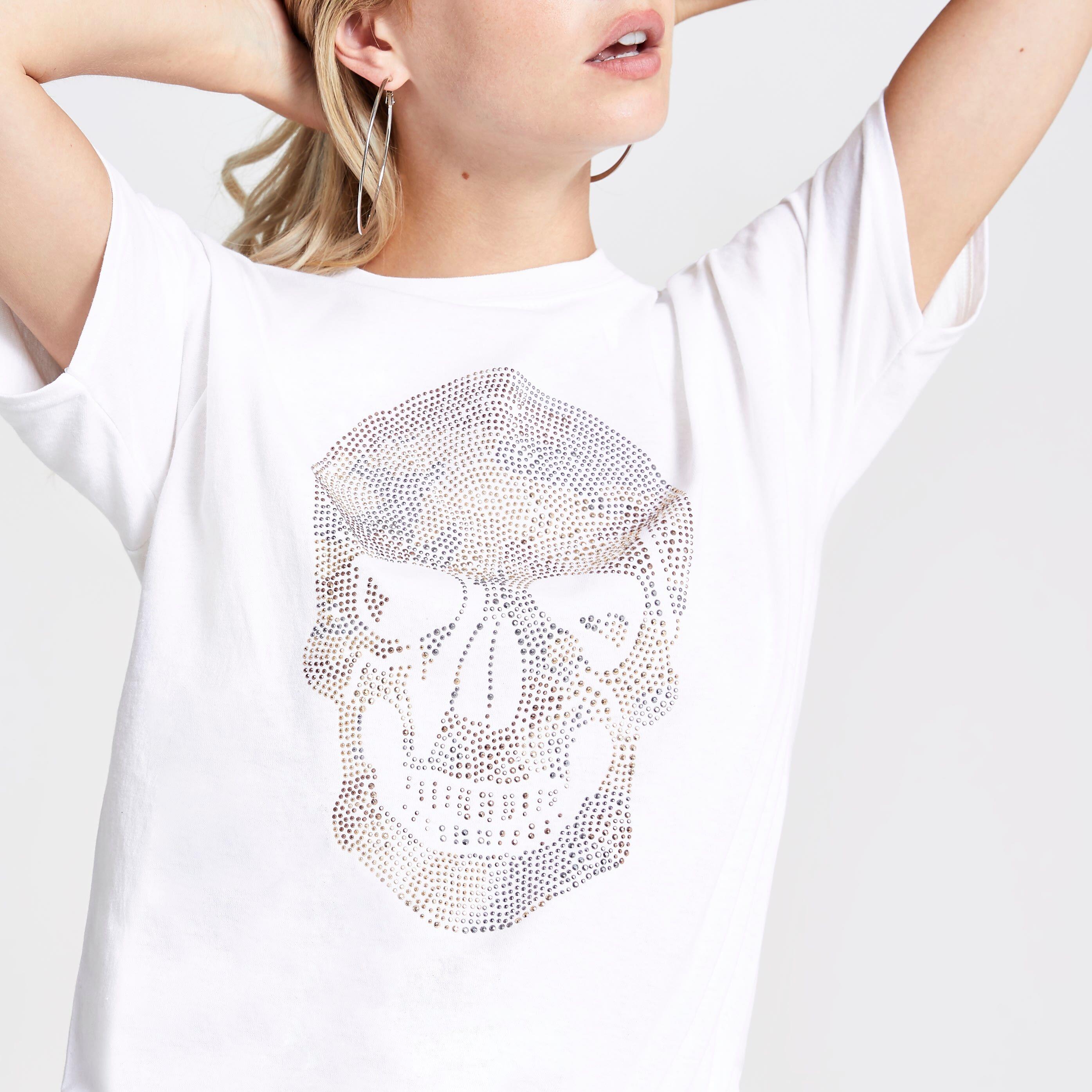 River Island Womens Petite White skull print T-shirt (S)