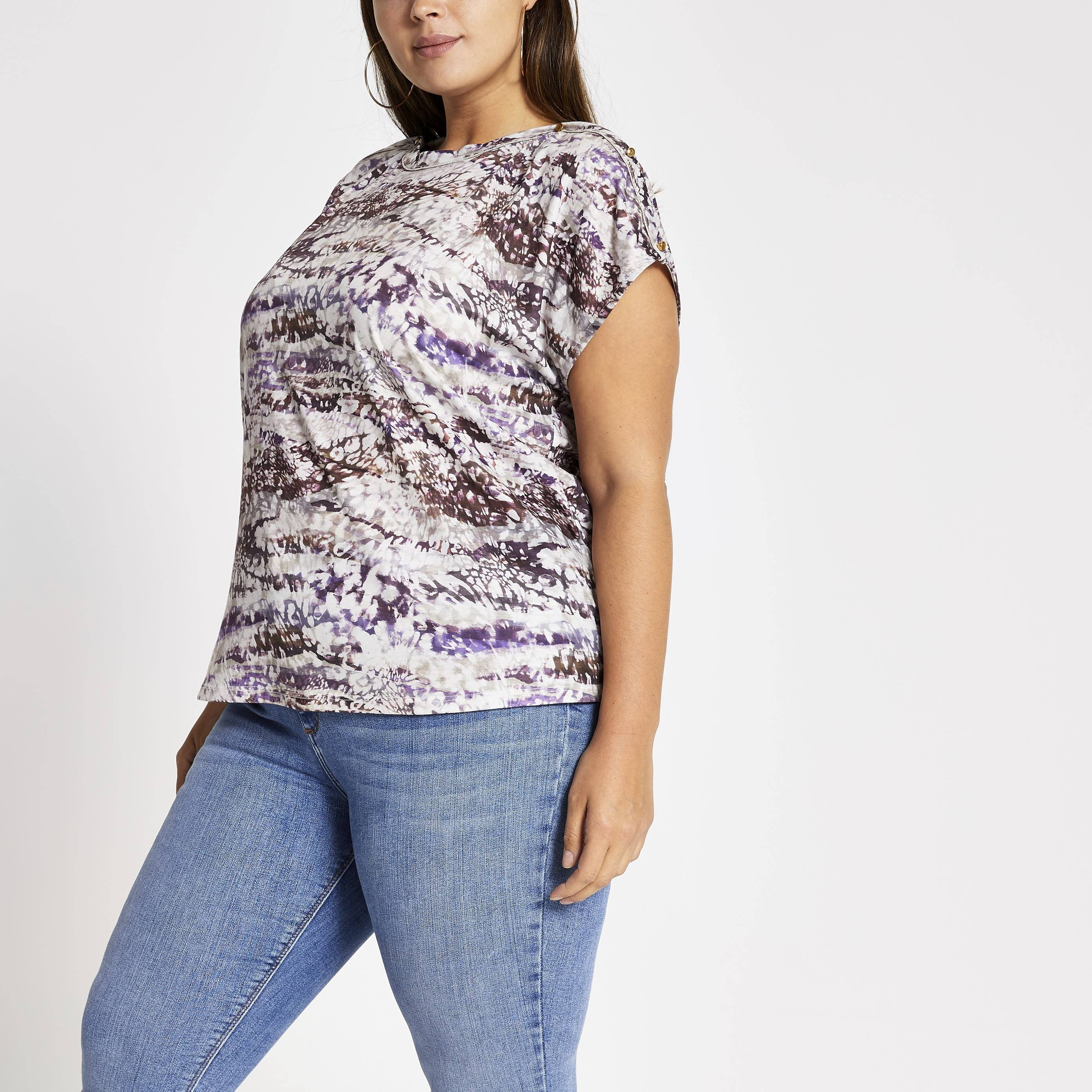 River Island Womens Plus Size Purple tie dye boat neck T-shirt (26)