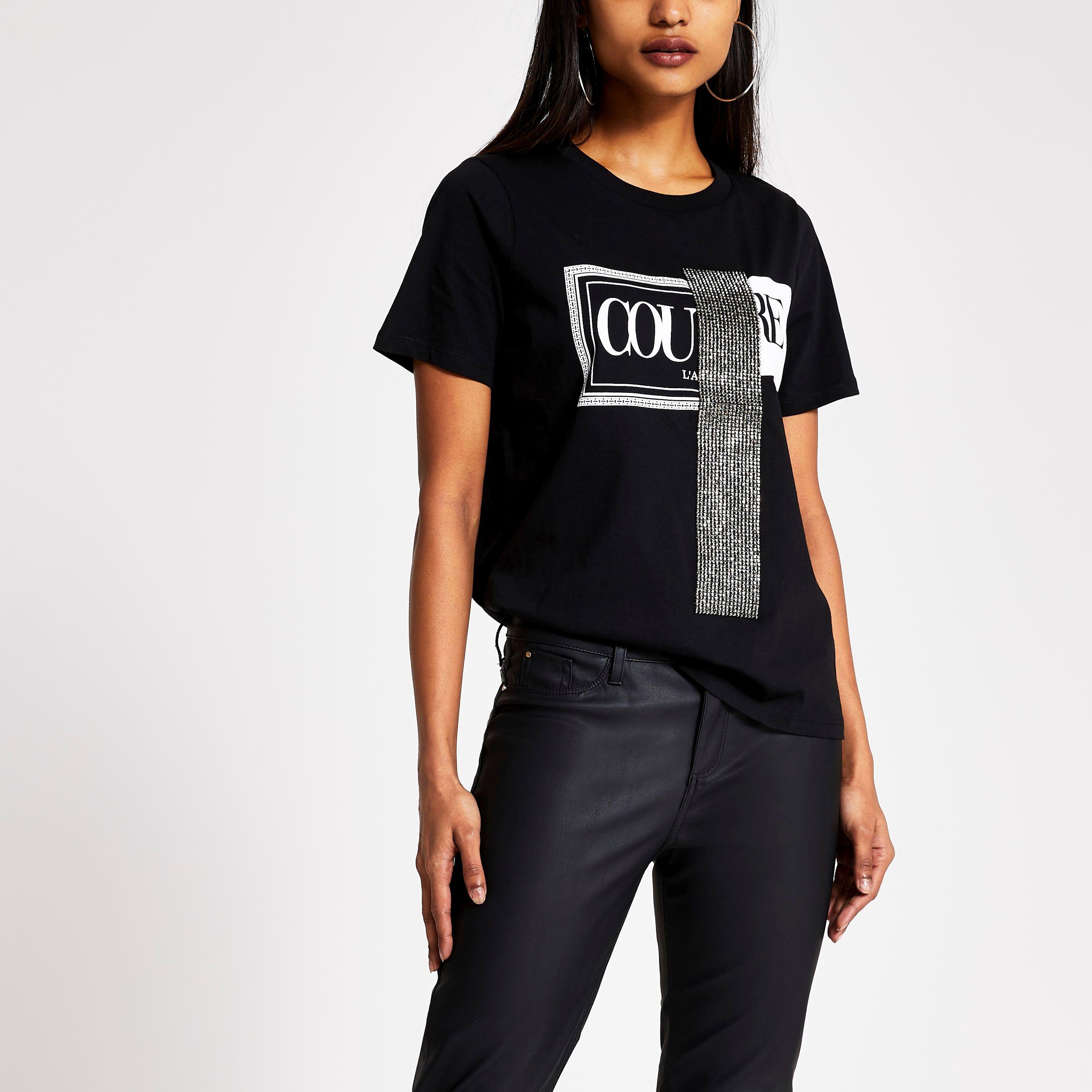 River Island Womens Petite Black 'Couture' diamante T-shirt (4)
