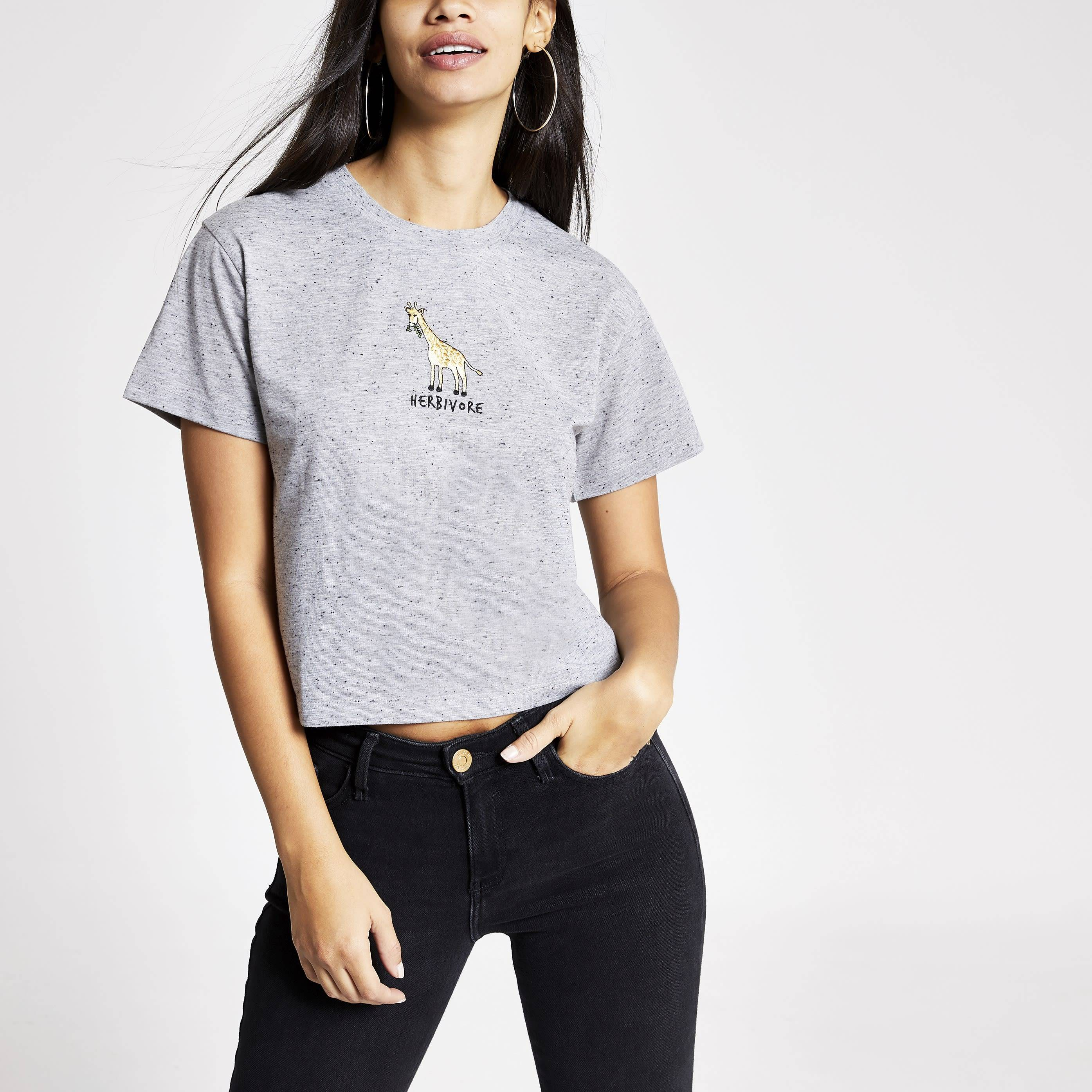 River Island Womens Tee & Cake Grey 'Herbivore' cropped T-shirt (XS)
