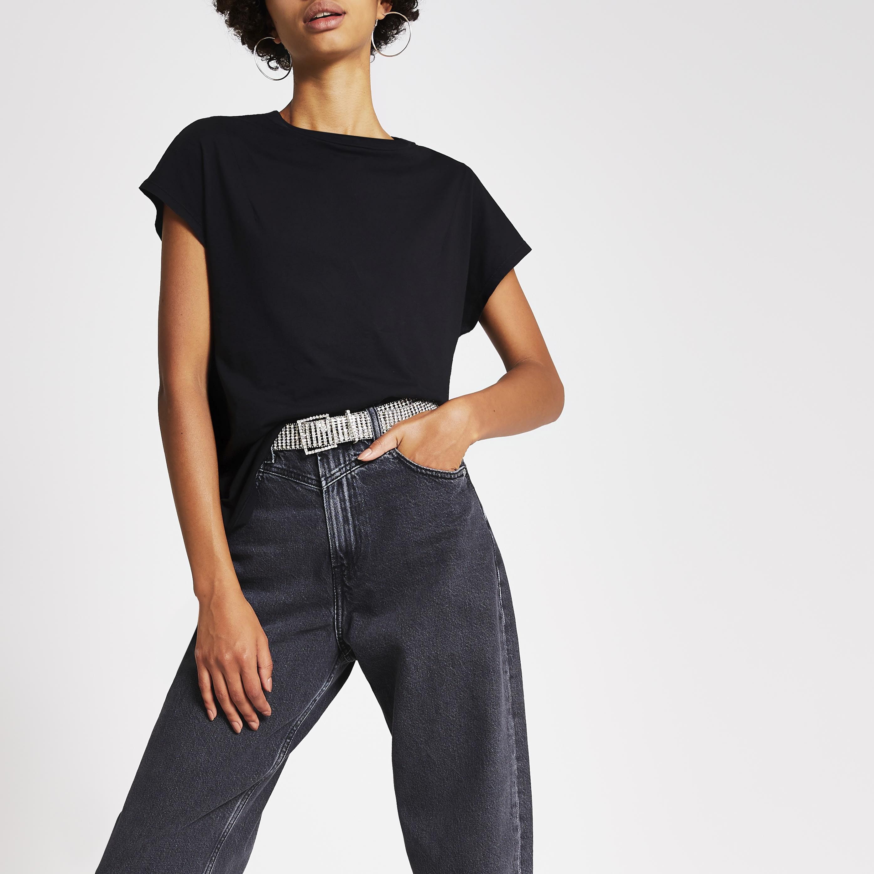 River Island Womens Dua Lipa x Pepe Jeans Black T-shirt (XS)