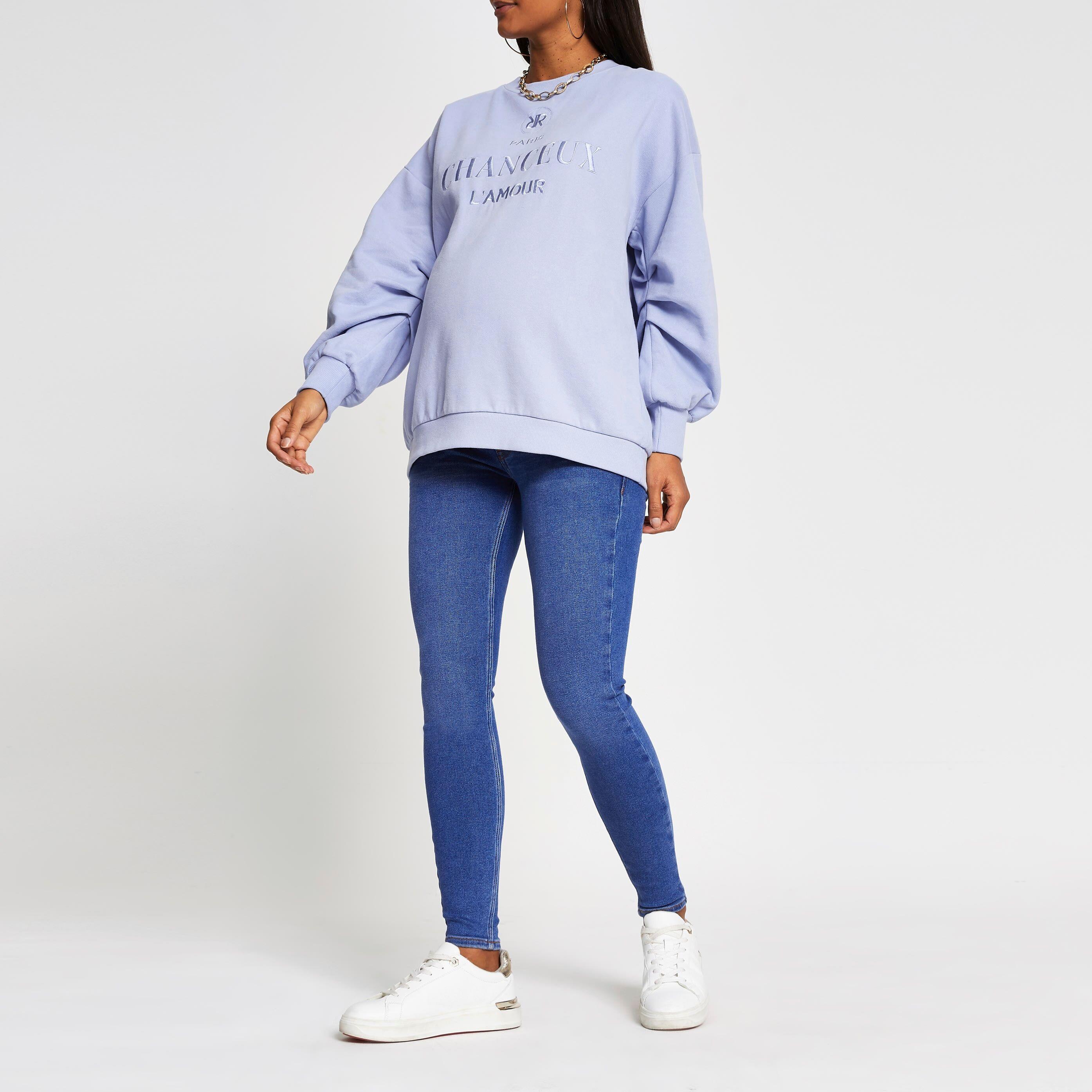river island Womens Blue denim Amelie maternity jeans (18R)