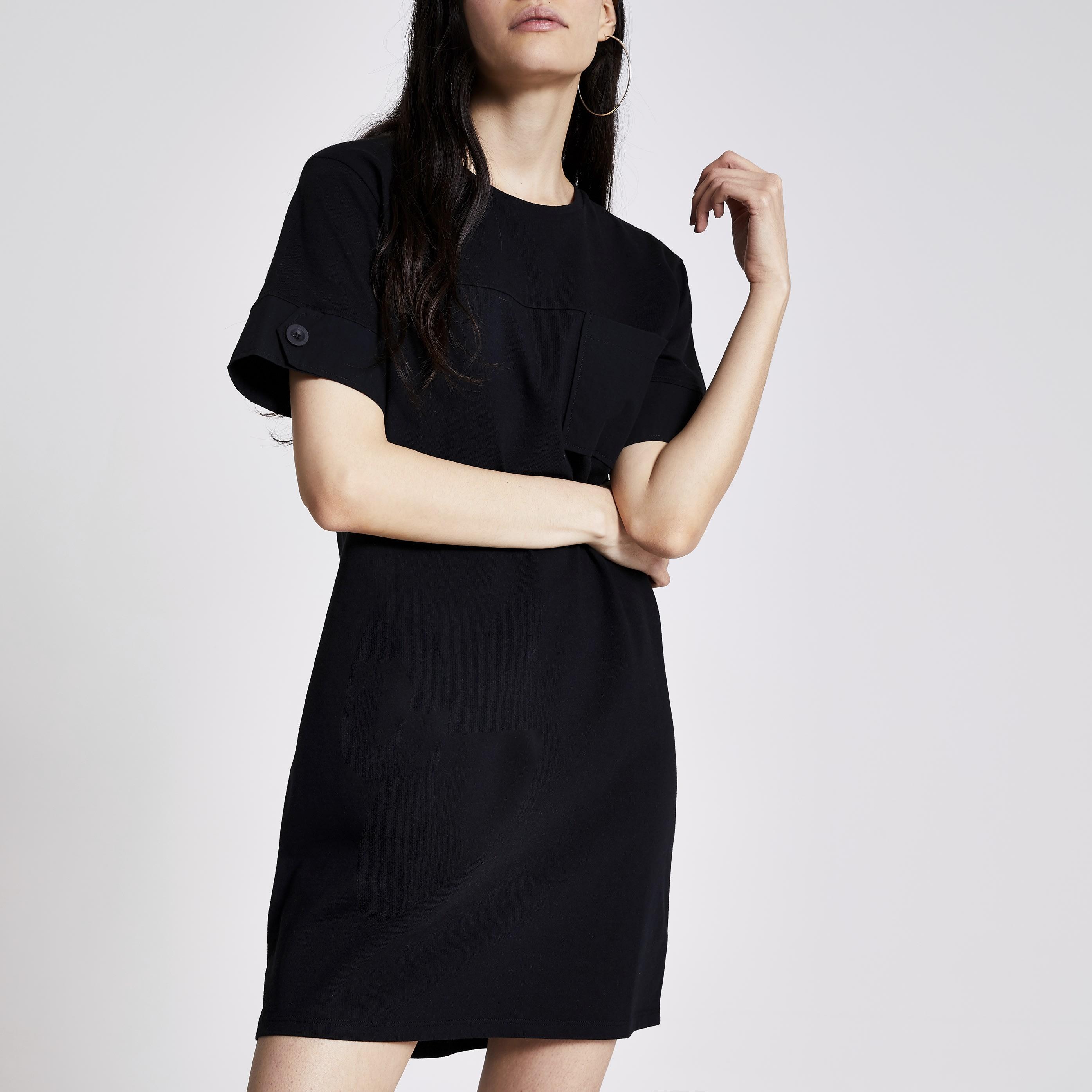 river island Womens Black chest pocket mini T-shirt dress (6)