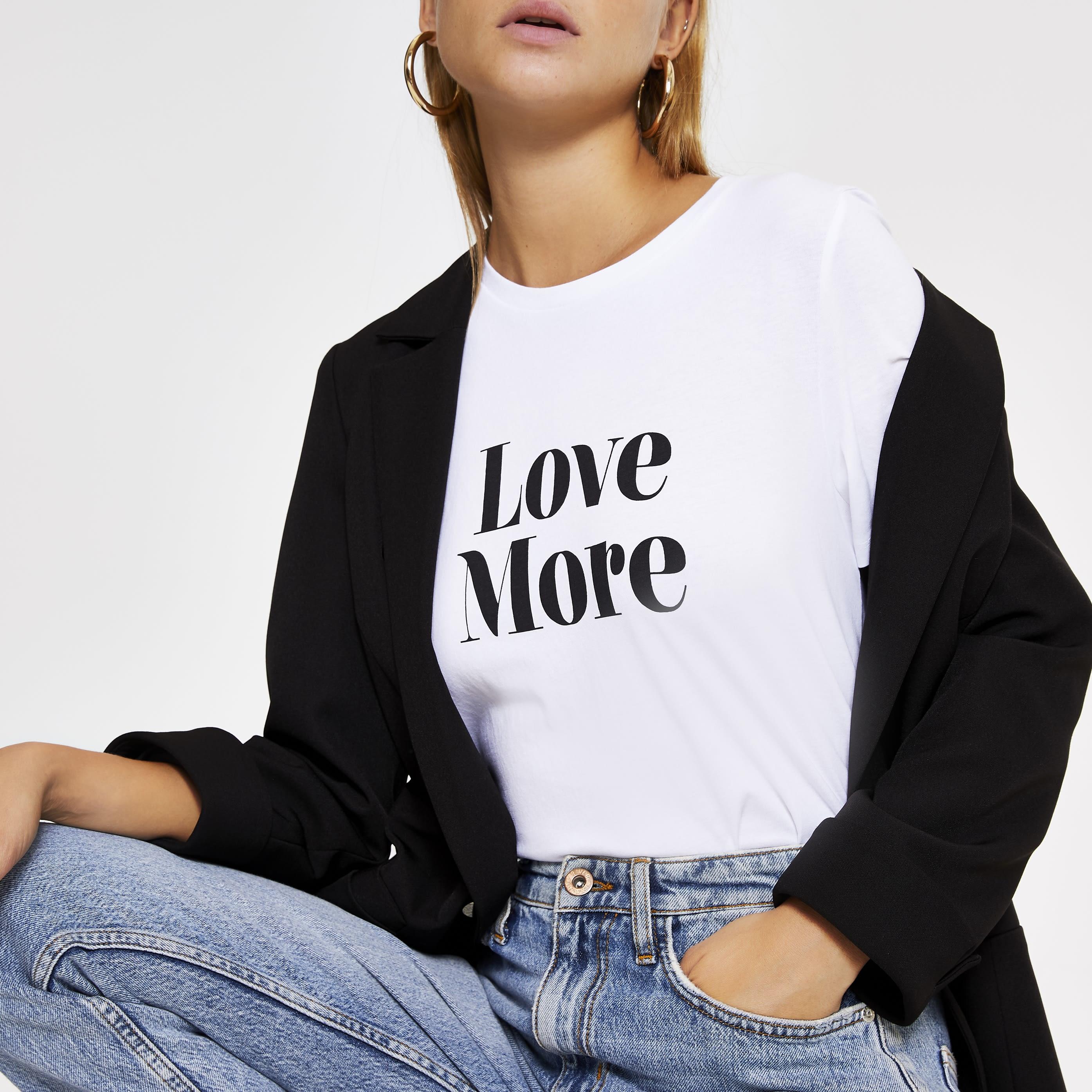 River Island Womens White 'Love more' short sleeve T-shirt (6)