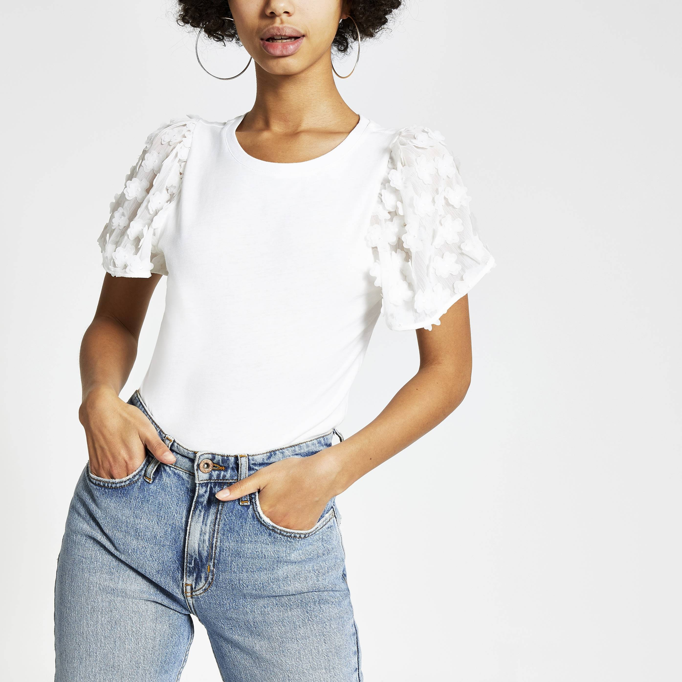 River Island Womens White flower embellished sleeve T-shirt (6)