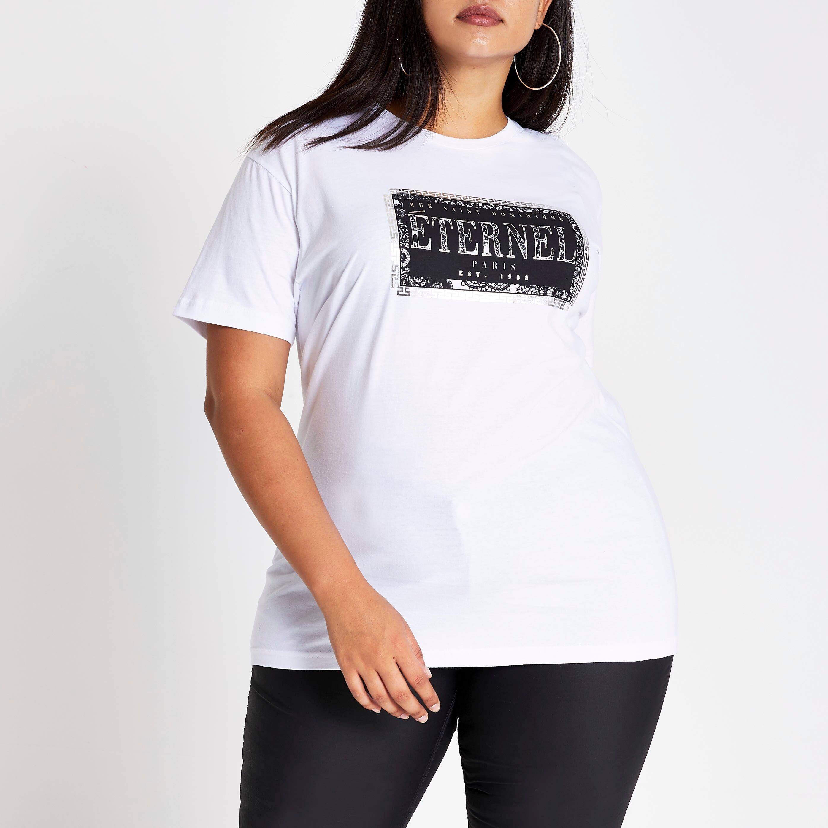 River Island Womens Plus Size White 'Eternal' printed T-shirt (26)