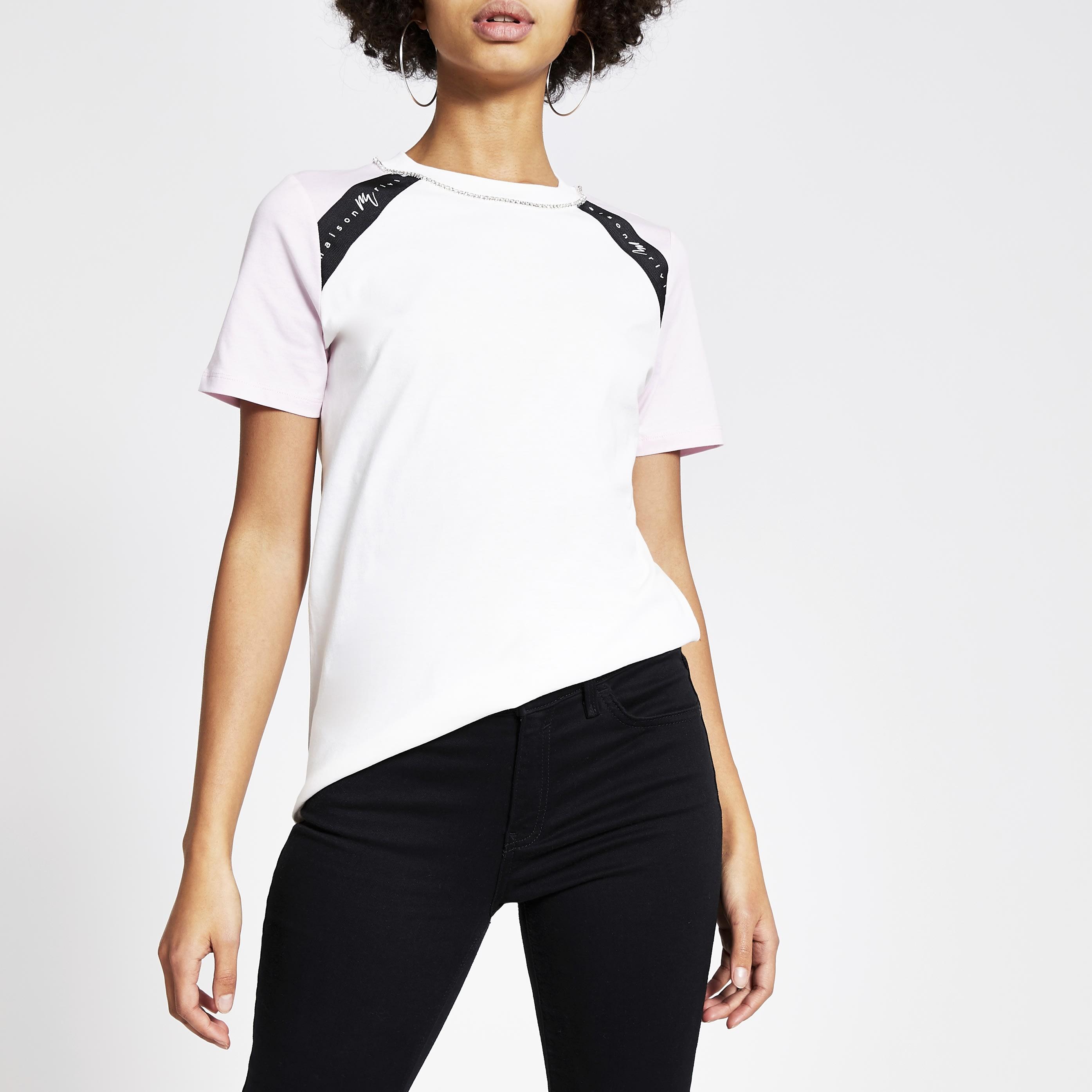 River Island Womens White Maison Riviera colour blocked T-shirt (10)