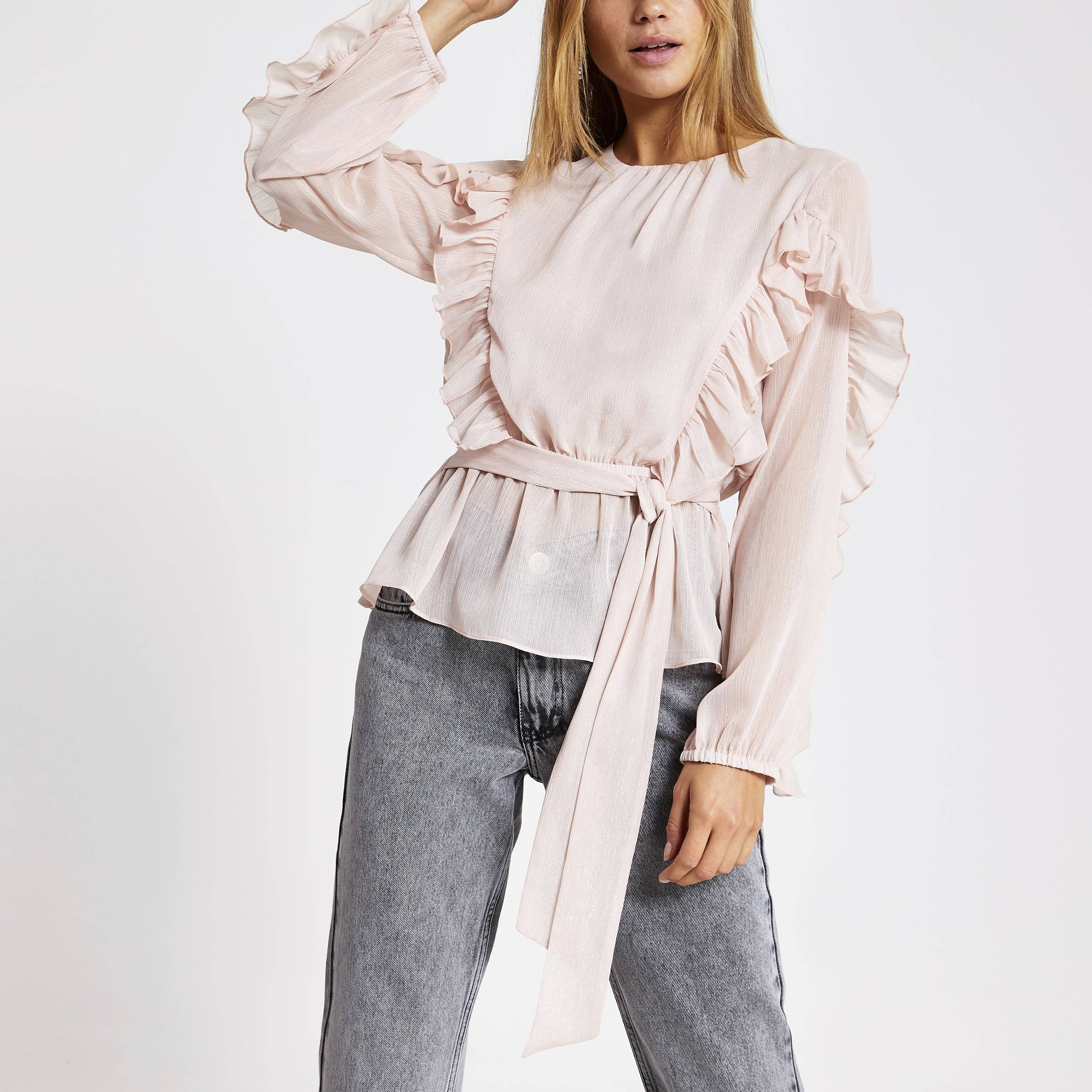 River Island Womens Pink long sleeve tie belted frill blouse (14)