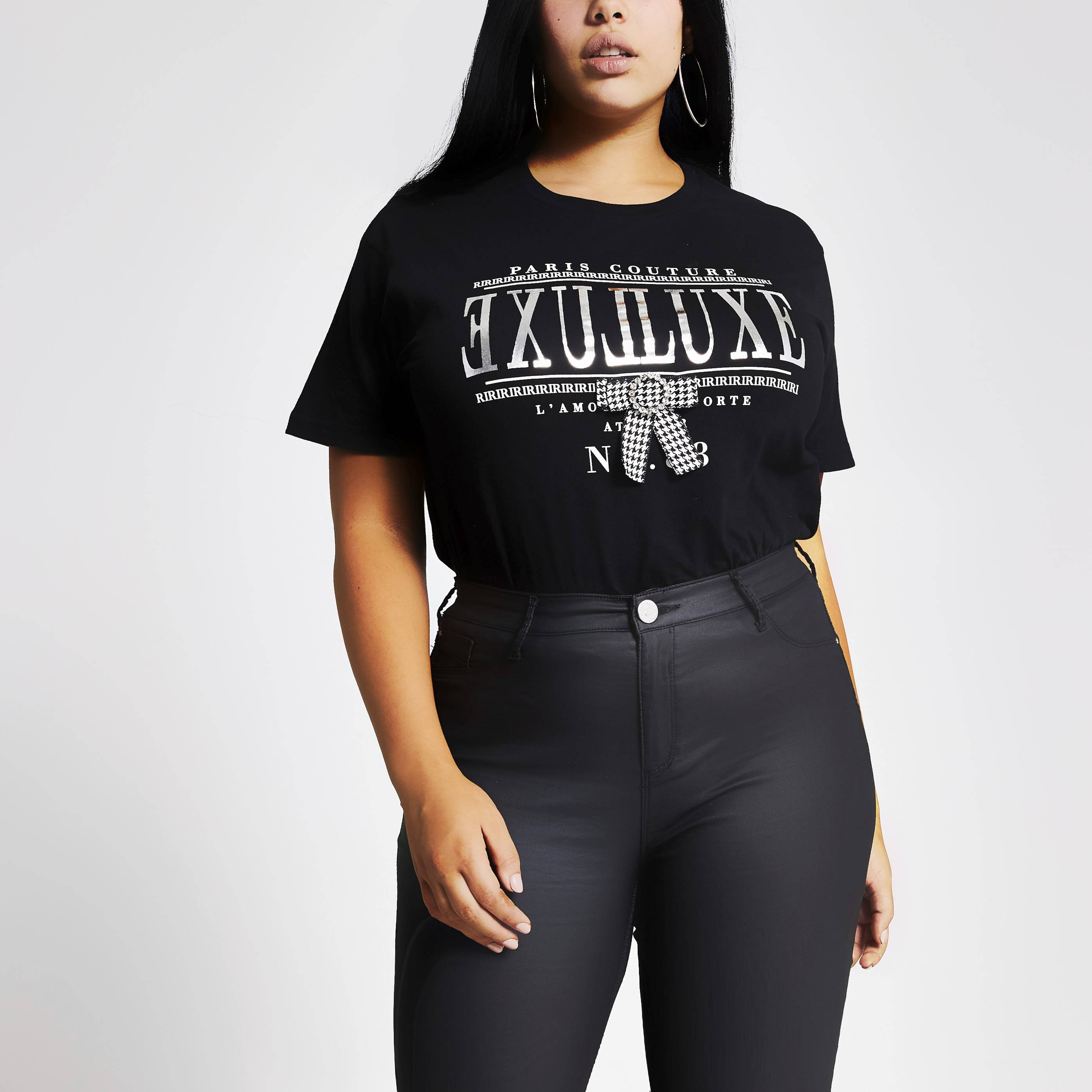 River Island Womens Plus Size Black printed dogtooth bow T-shirt (18)
