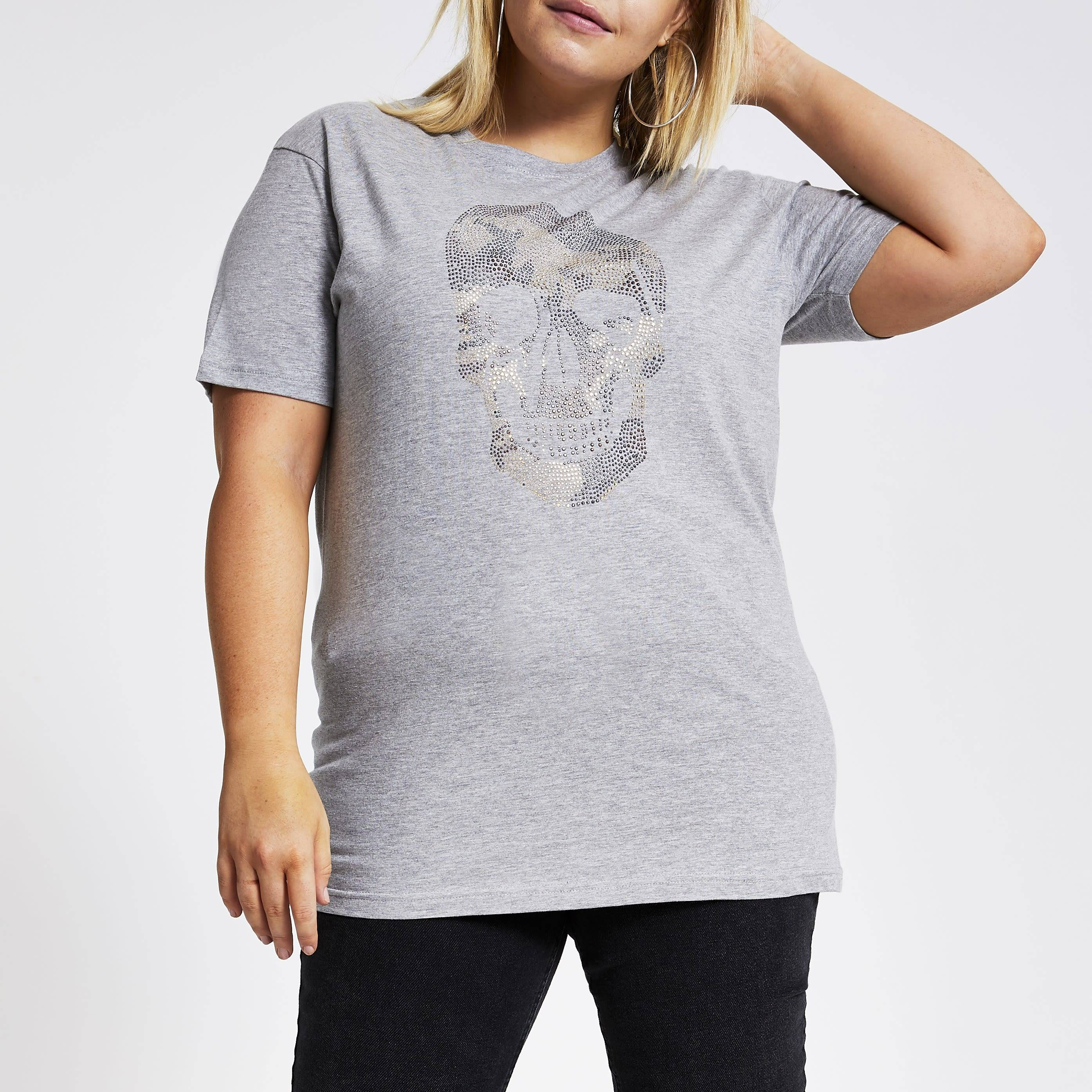 River Island Womens Plus Size Grey embellished camo skull T-shirt (20)