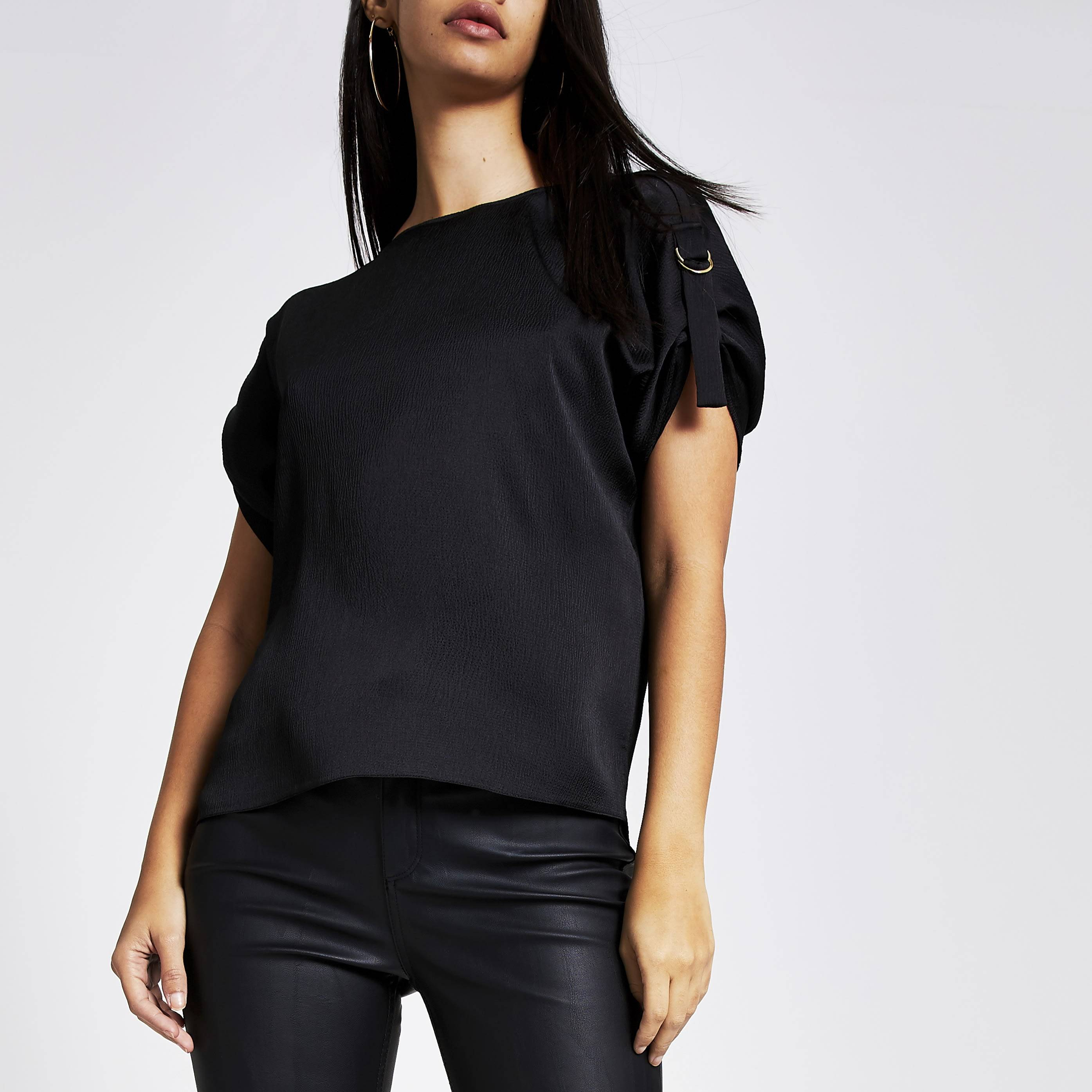 River Island Womens Black D-ring shoulder short sleeve T-shirt (14)