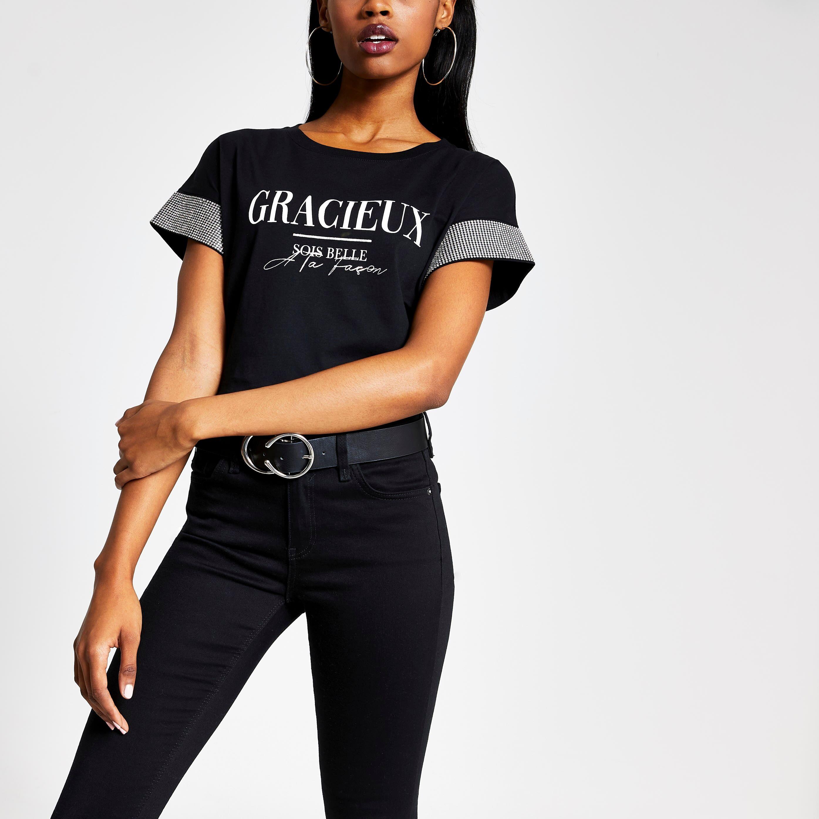 River Island Womens Black 'Gracieux' diamante sleeve T-shirt (16)