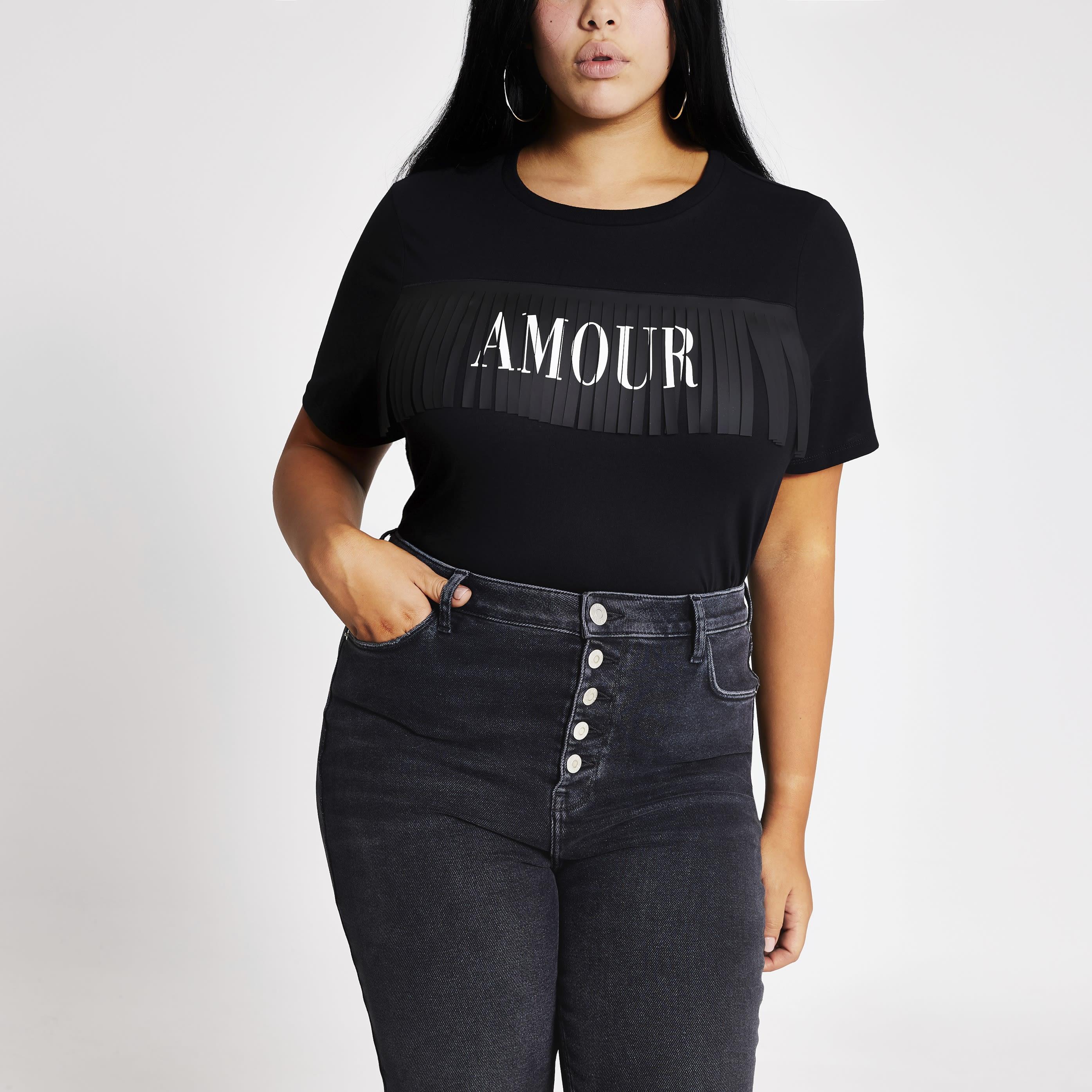 River Island Womens Plus Size Black 'Amour' fringe T-shirt (20)