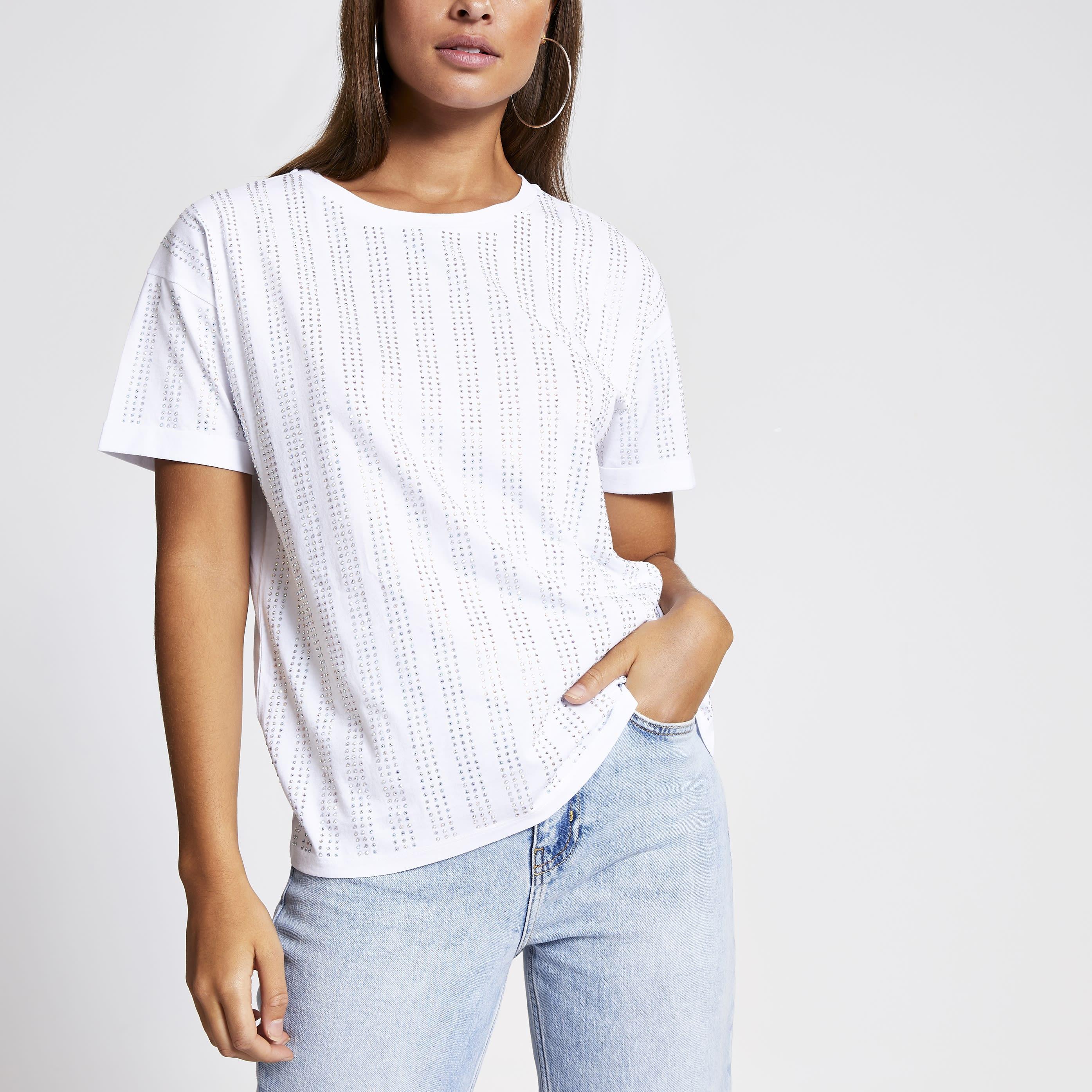 River Island Womens White diamante stripe loose fit T-shirt (16)