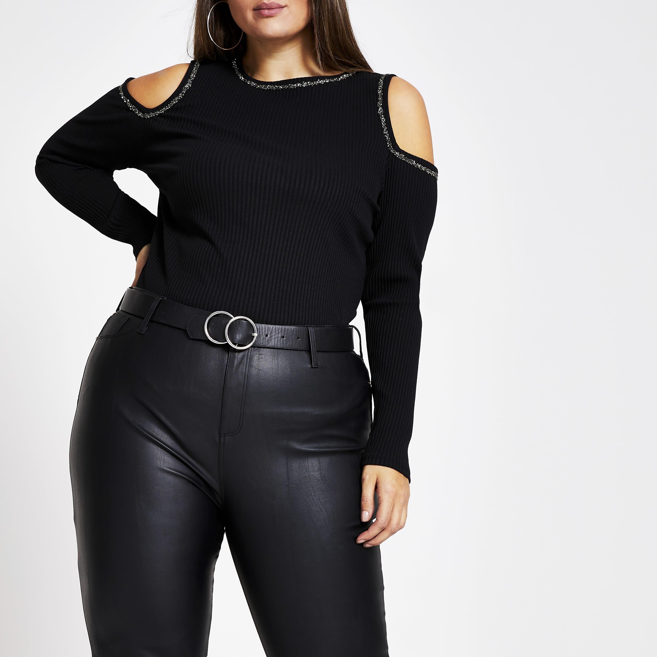 River Island Womens Plus Size Black embellished cold shoulder T-shirt (20)