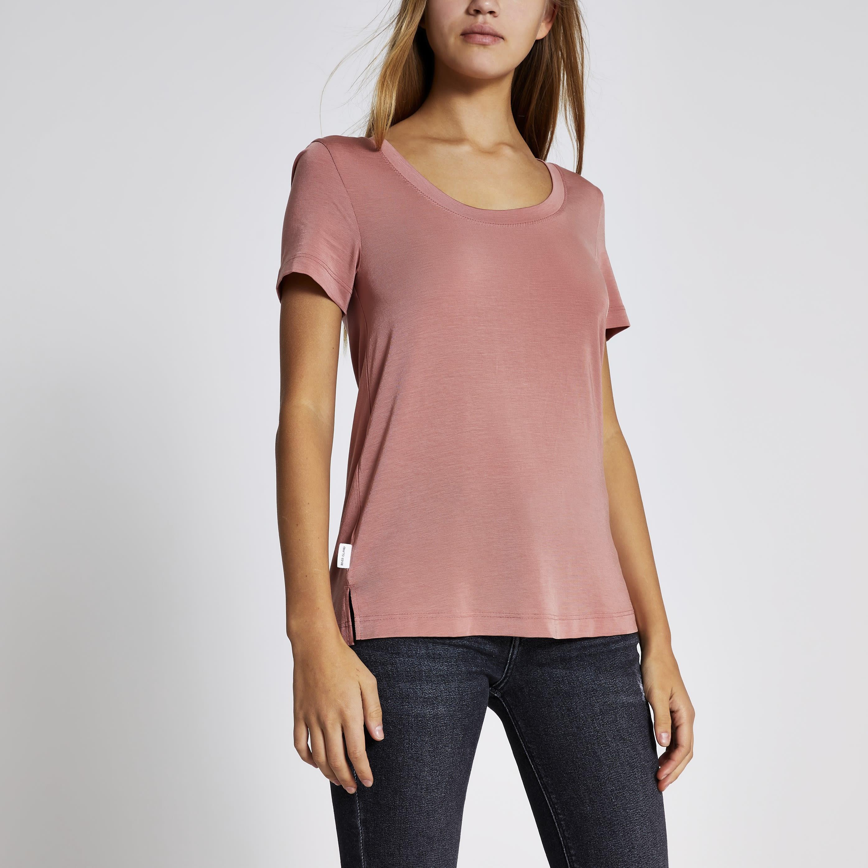 River Island Womens Pink premium jersey scoop neck T-shirt (12)