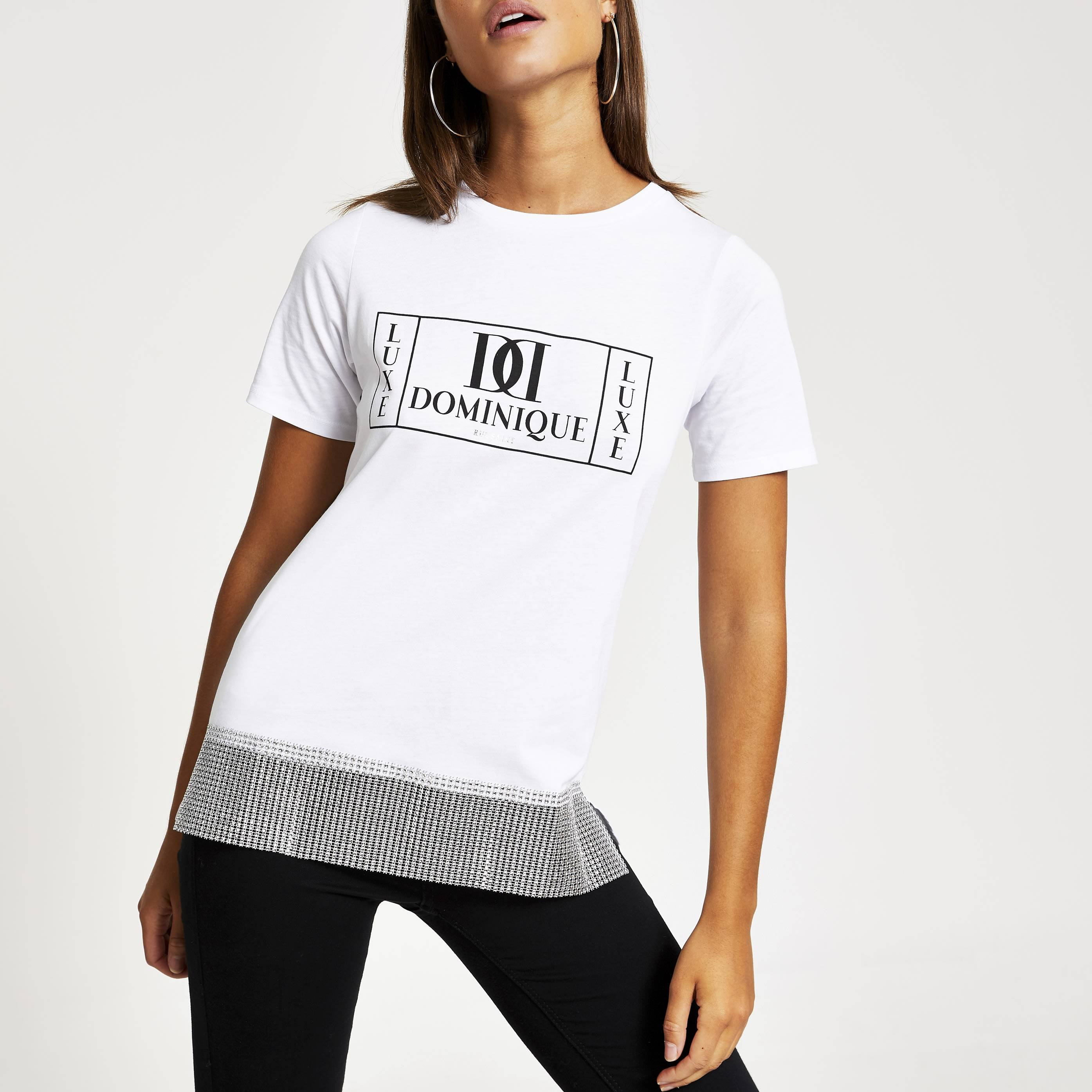 River Island Womens White printed diamante chain hem T-shirt (14)