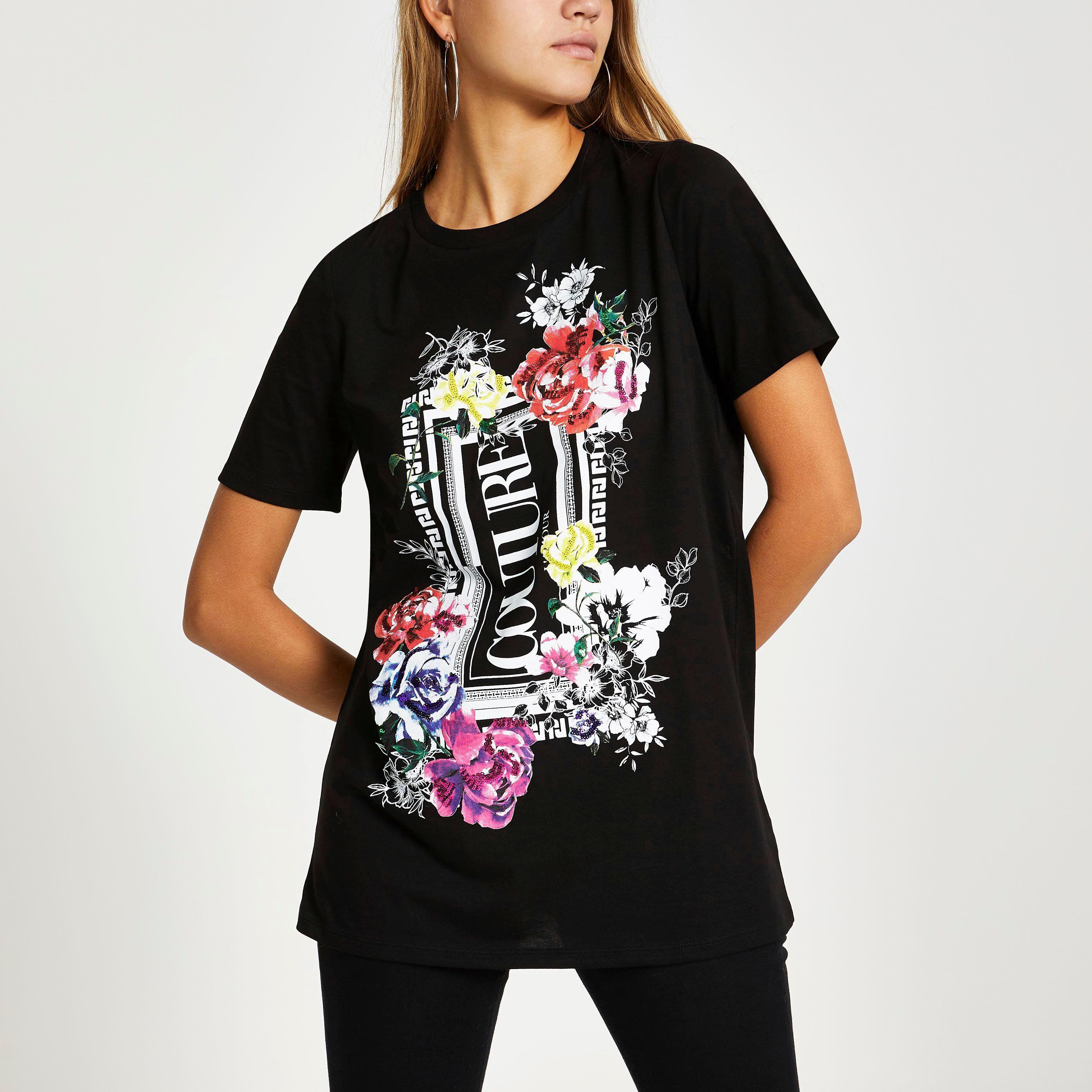 River Island Womens Black floral print sequin boyfriend T-shirt (14)