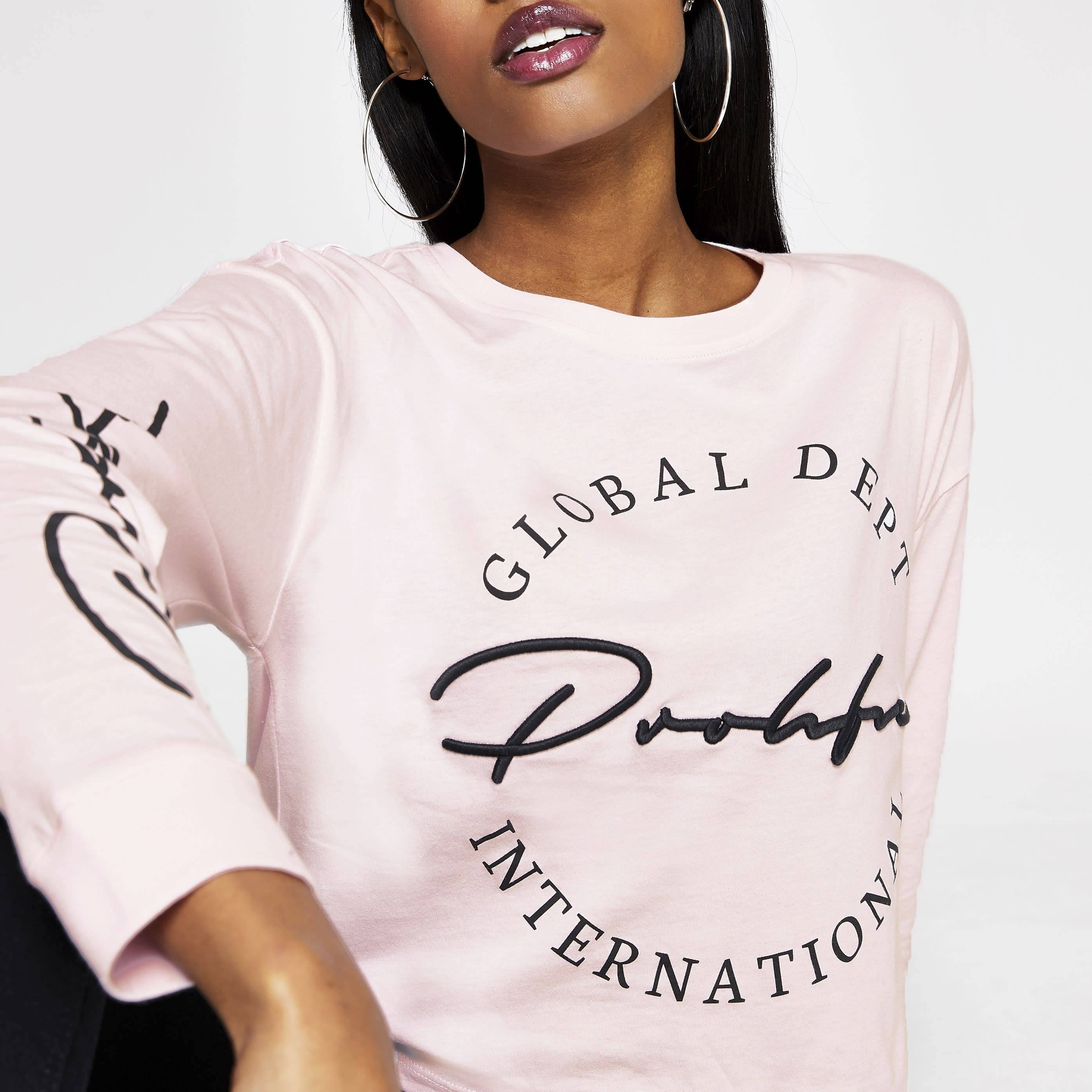 River Island Womens Pink Prolific long sleeve cropped T-shirt (10)