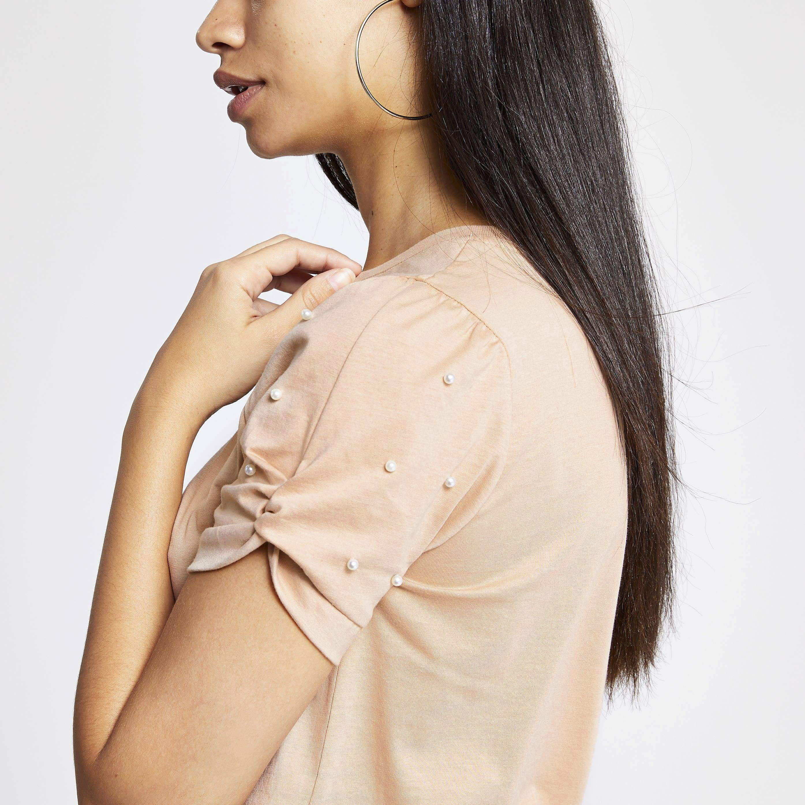 River Island Womens Beige embellished knot sleeve fitted T-shirt (8)