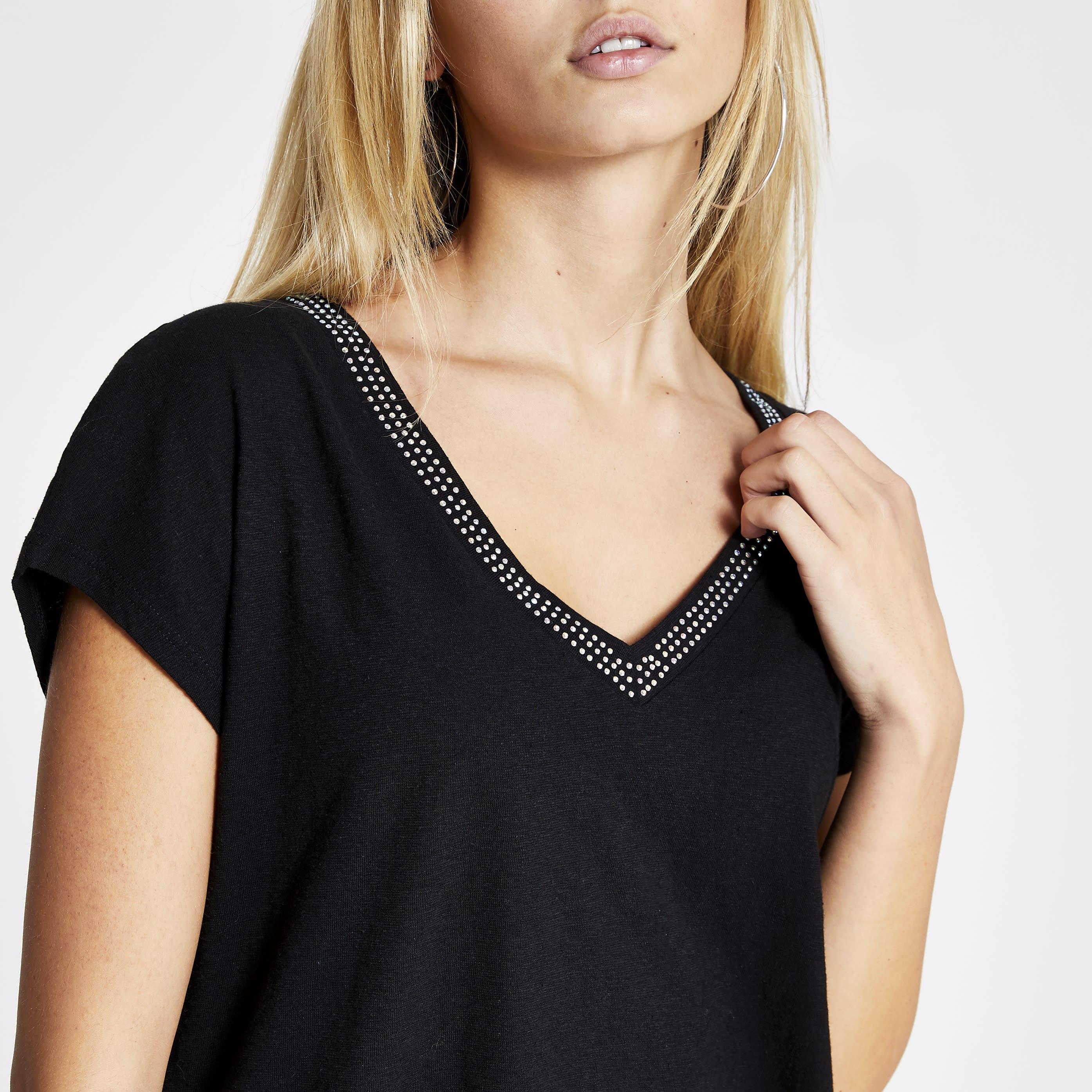 River Island Womens Black diamante V neck loose fit T-shirt (8)