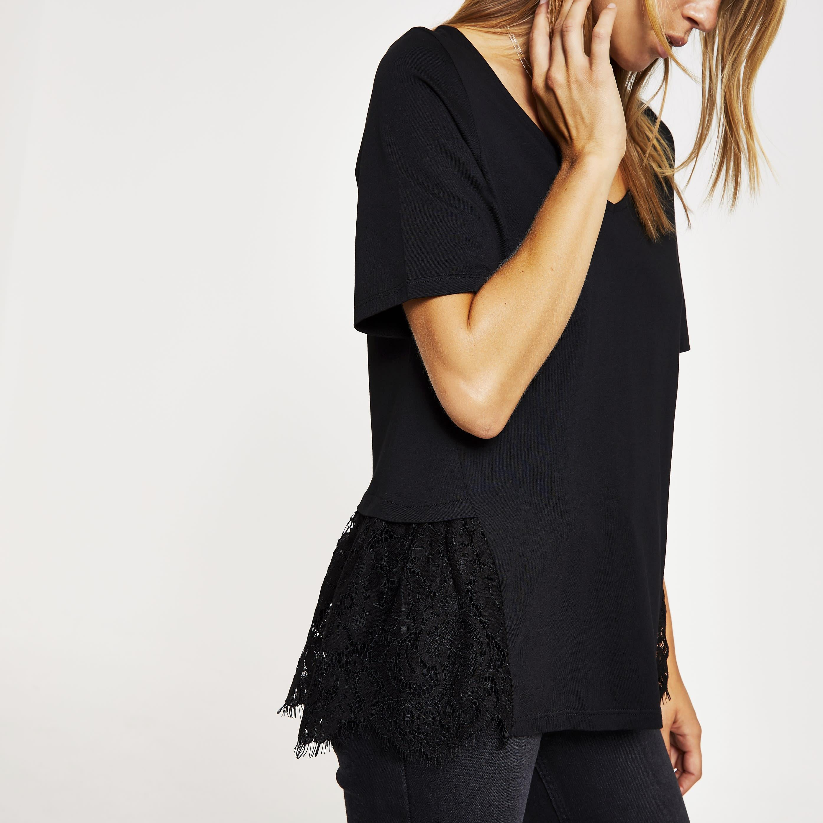River Island Womens Black lace peplum V neck T-shirt (14)