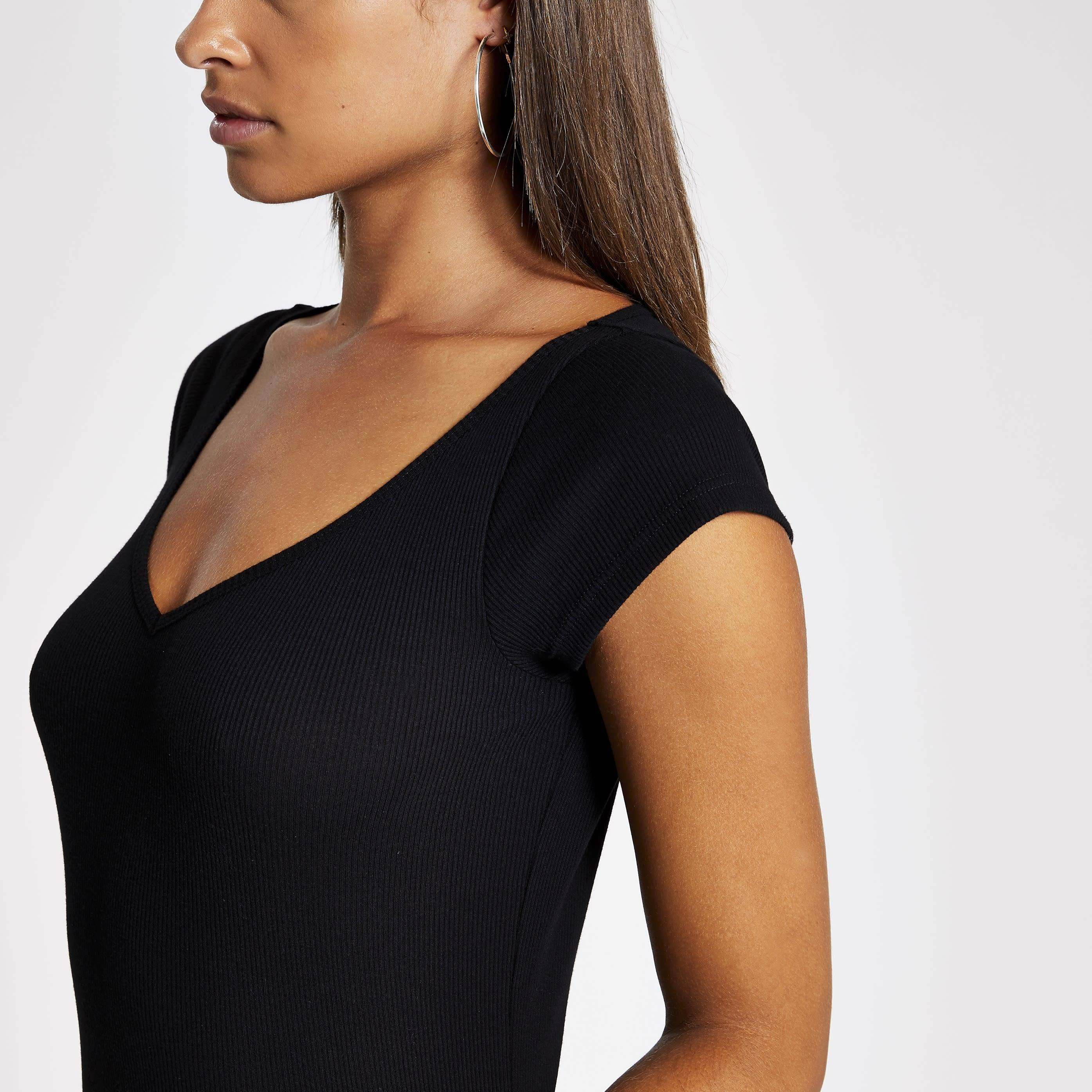 River Island Womens Black short sleeve V neck ribbed T-shirt (16)