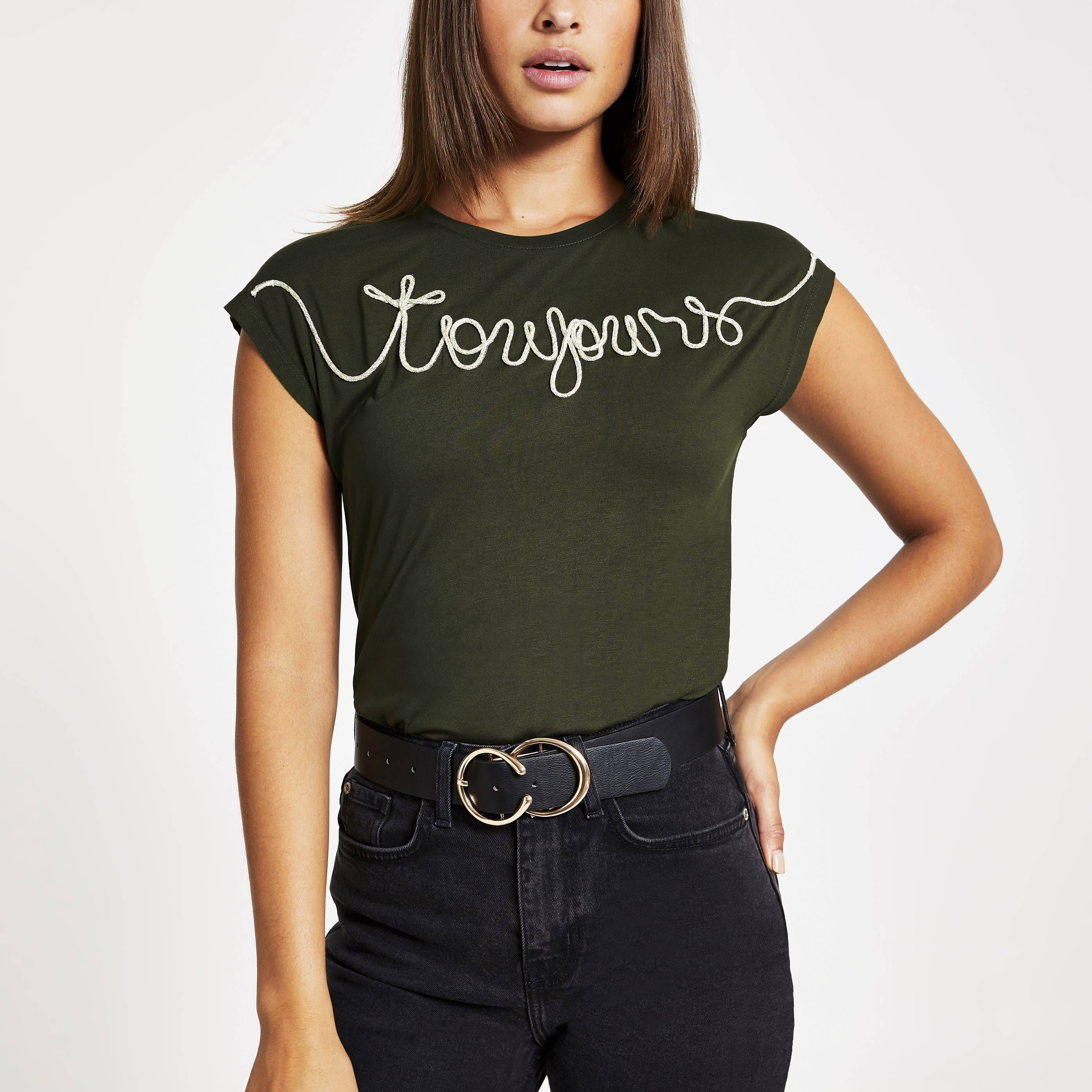 River Island Womens Khaki 'Toujour' embroidered T-shirt (10)