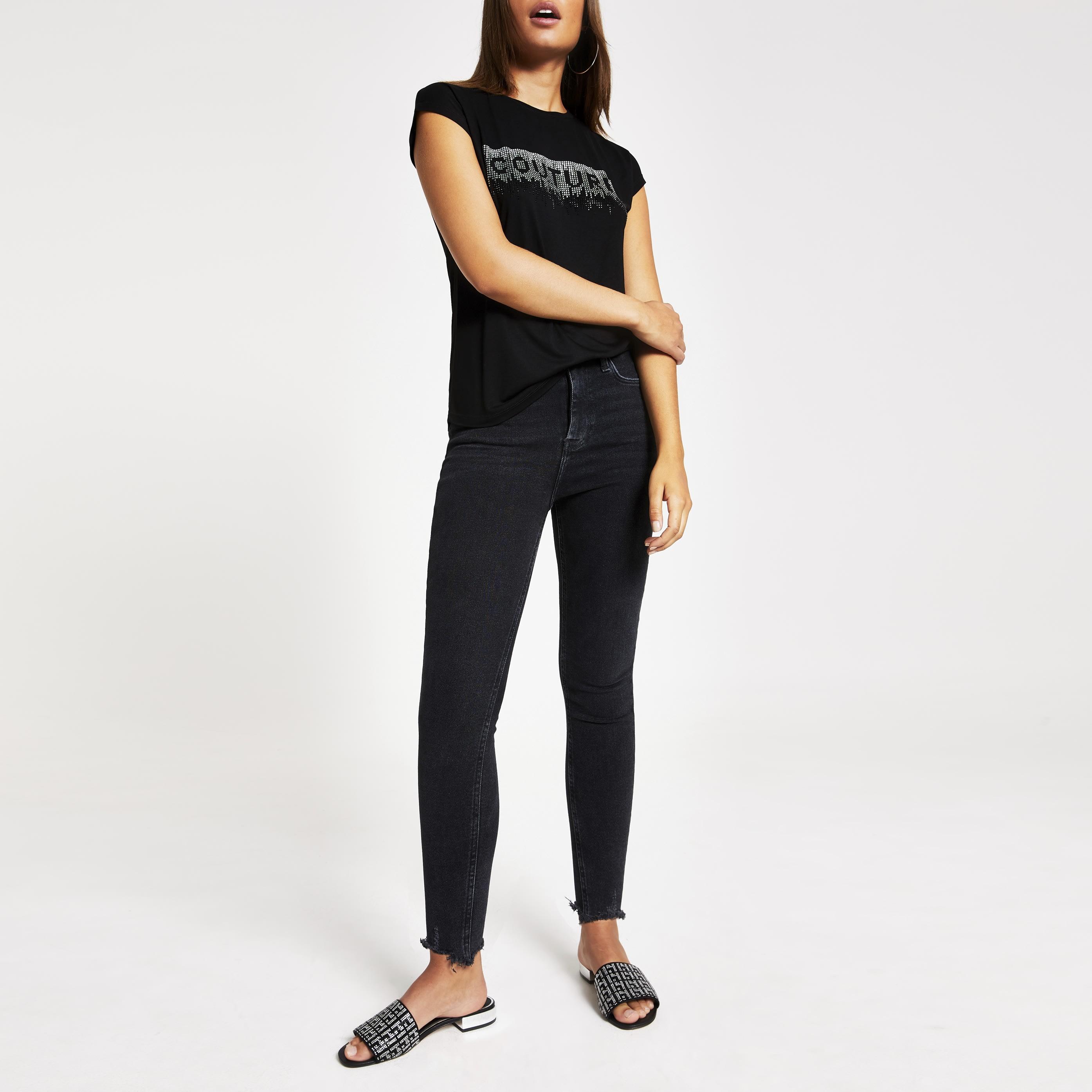 River Island Womens Black 'Couture' diamante frill trim T-shirt (12)