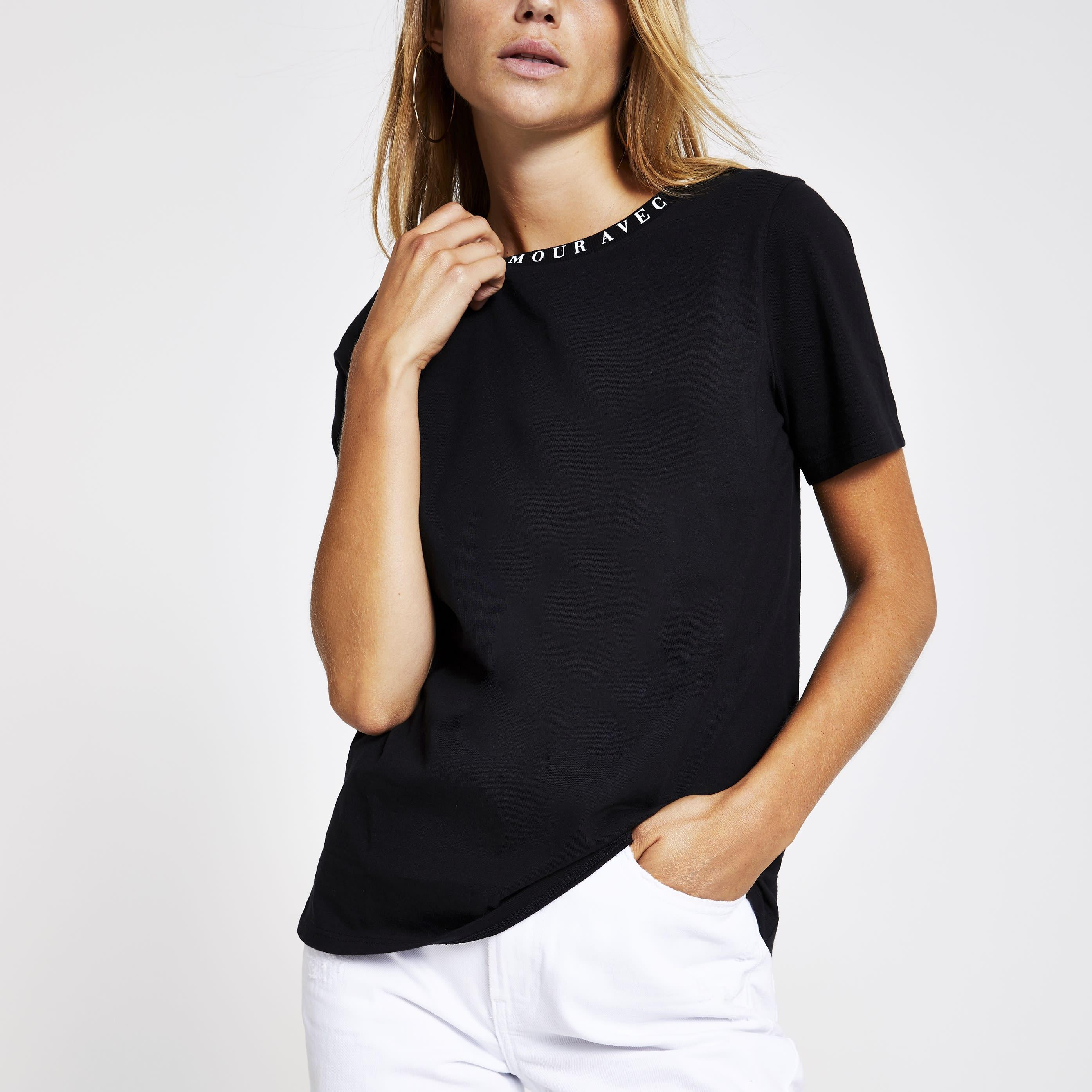 River Island Womens Black 'Mon amour' neck print T-shirt (8)