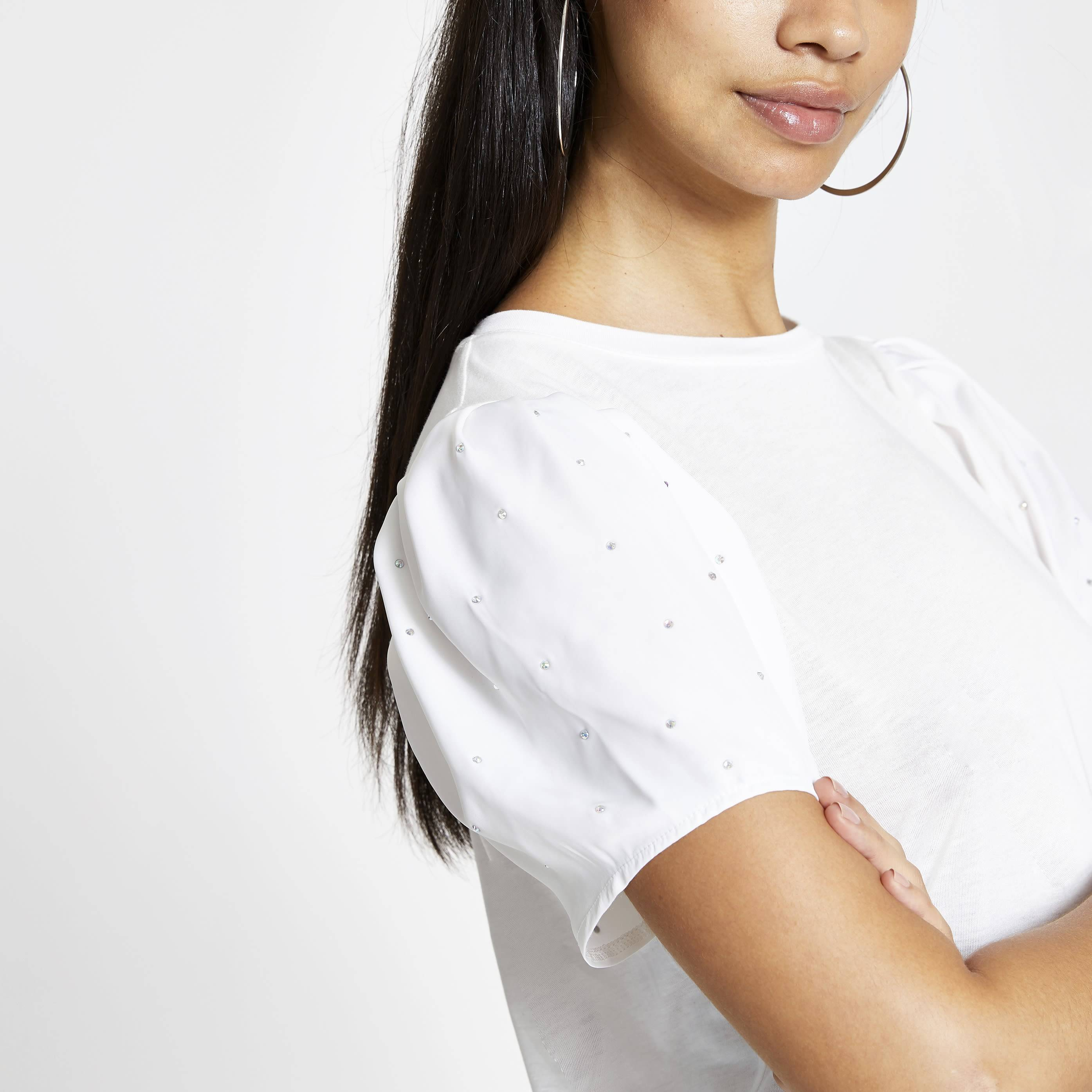 River Island Womens White embellished puff sleeve T-shirt (12)