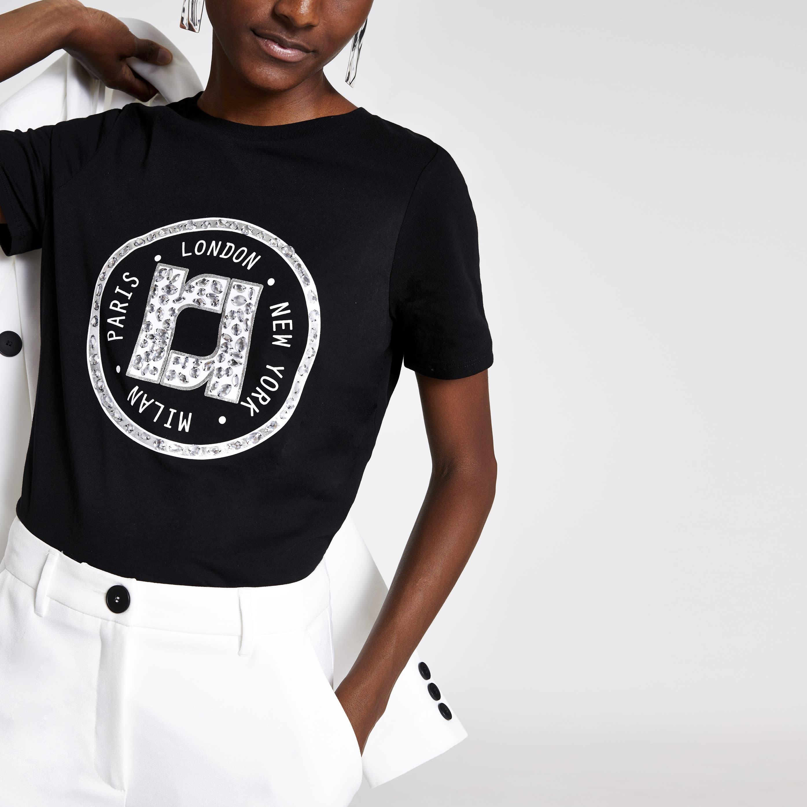 River Island Womens Black printed embellished T-shirt (10)