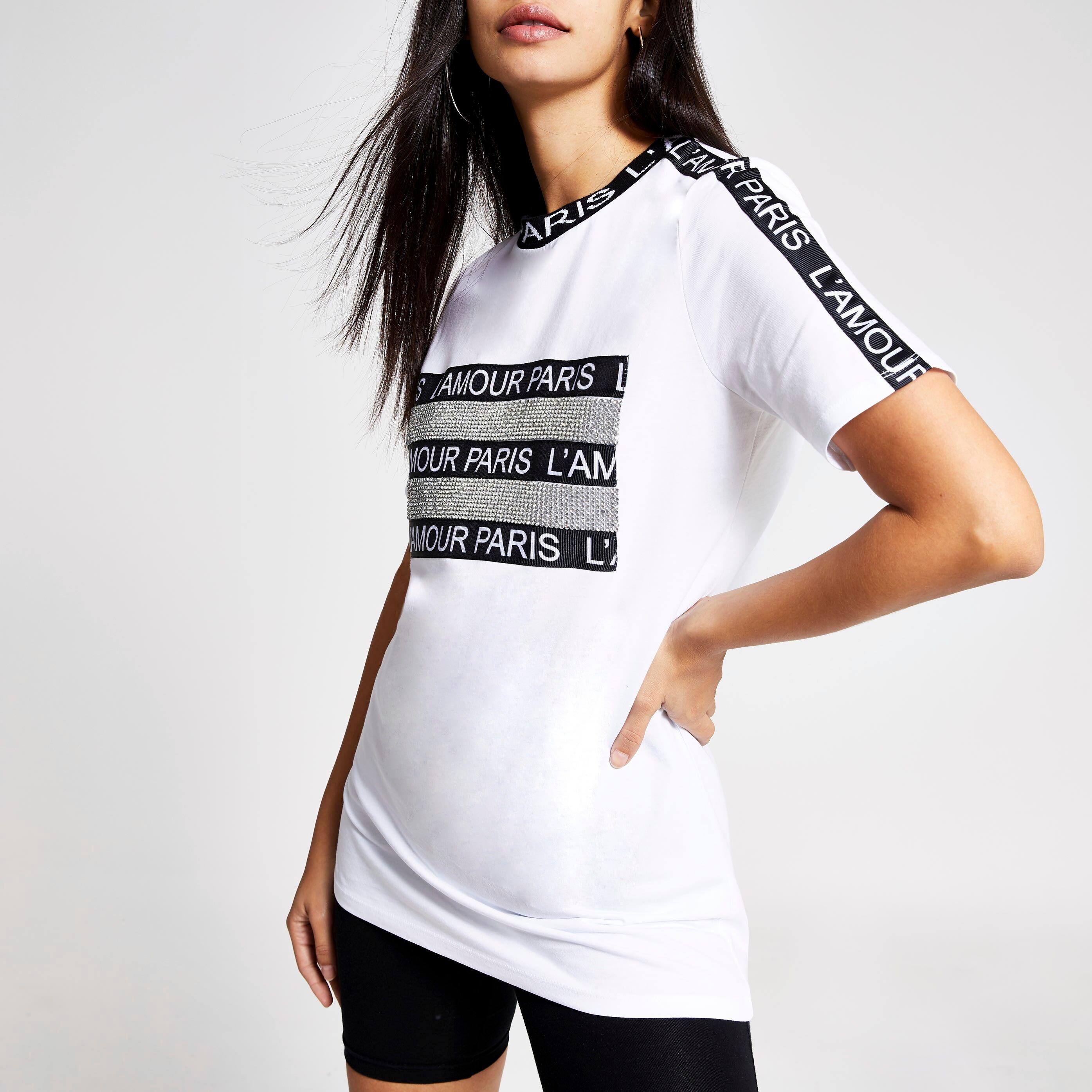 River Island Womens White 'Paris' embellished boyfriend T-shirt (8)