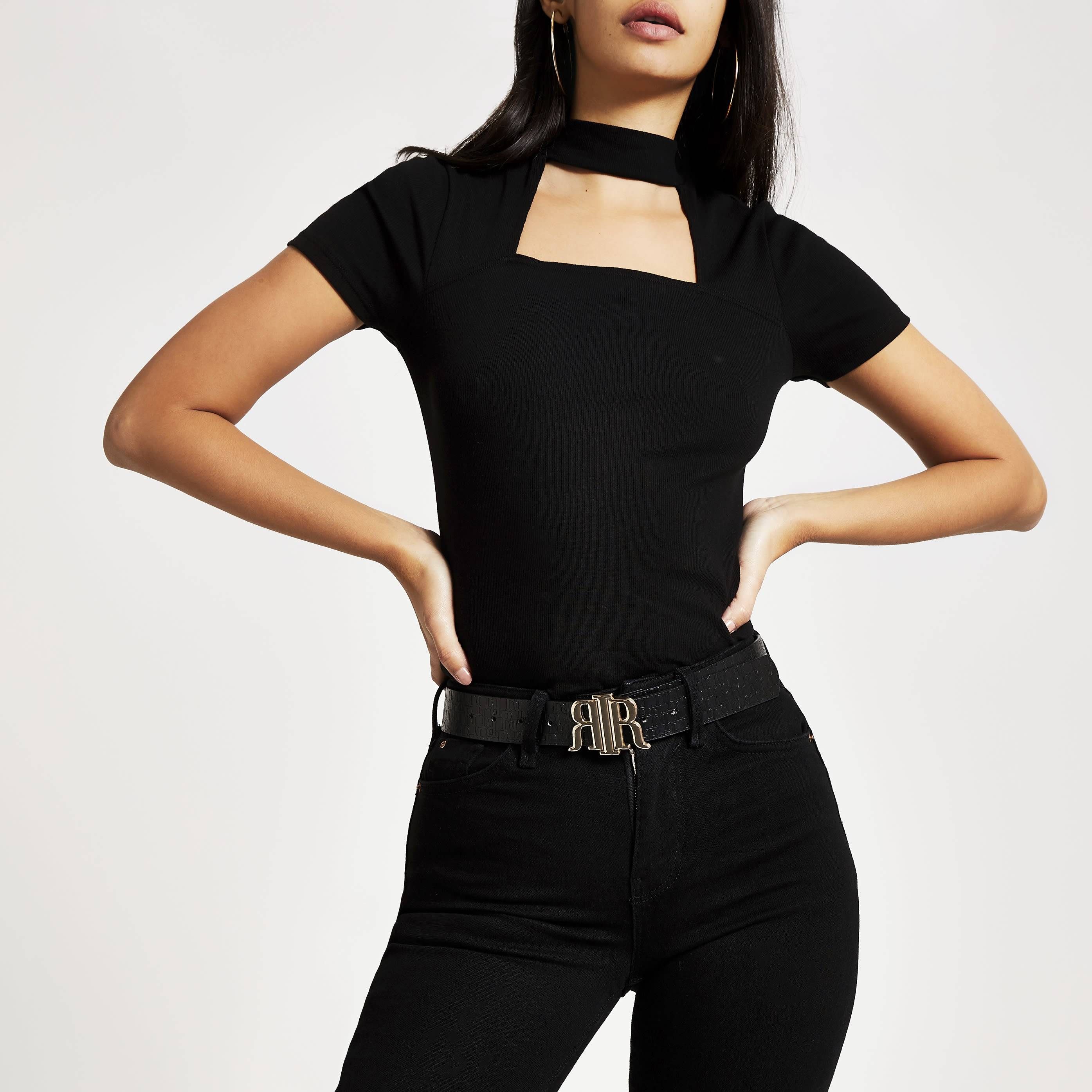 River Island Womens Black short sleeve choker cut out T-shirt (6)