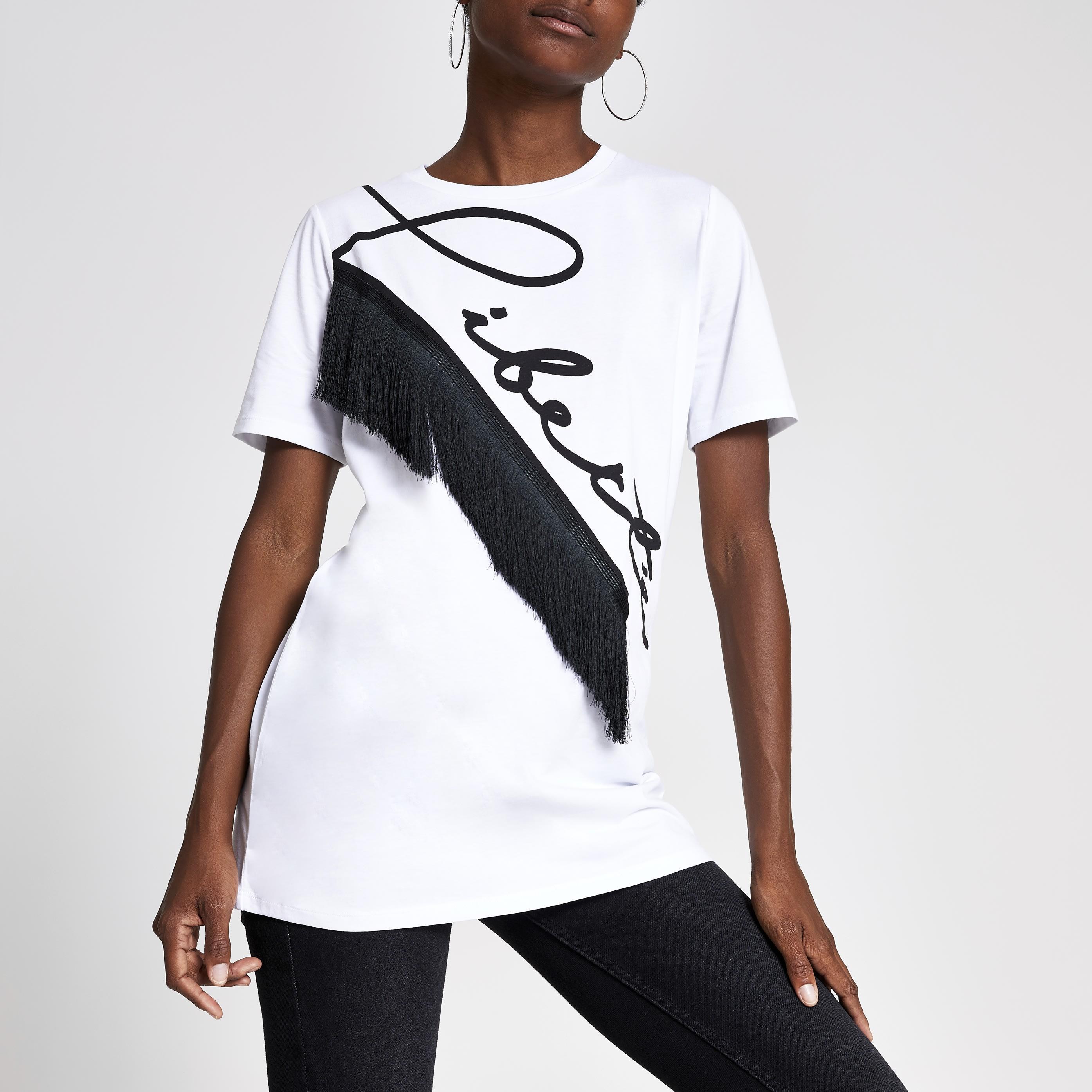 River Island Womens White 'Liberte' print boyfriend T-shirt (8)