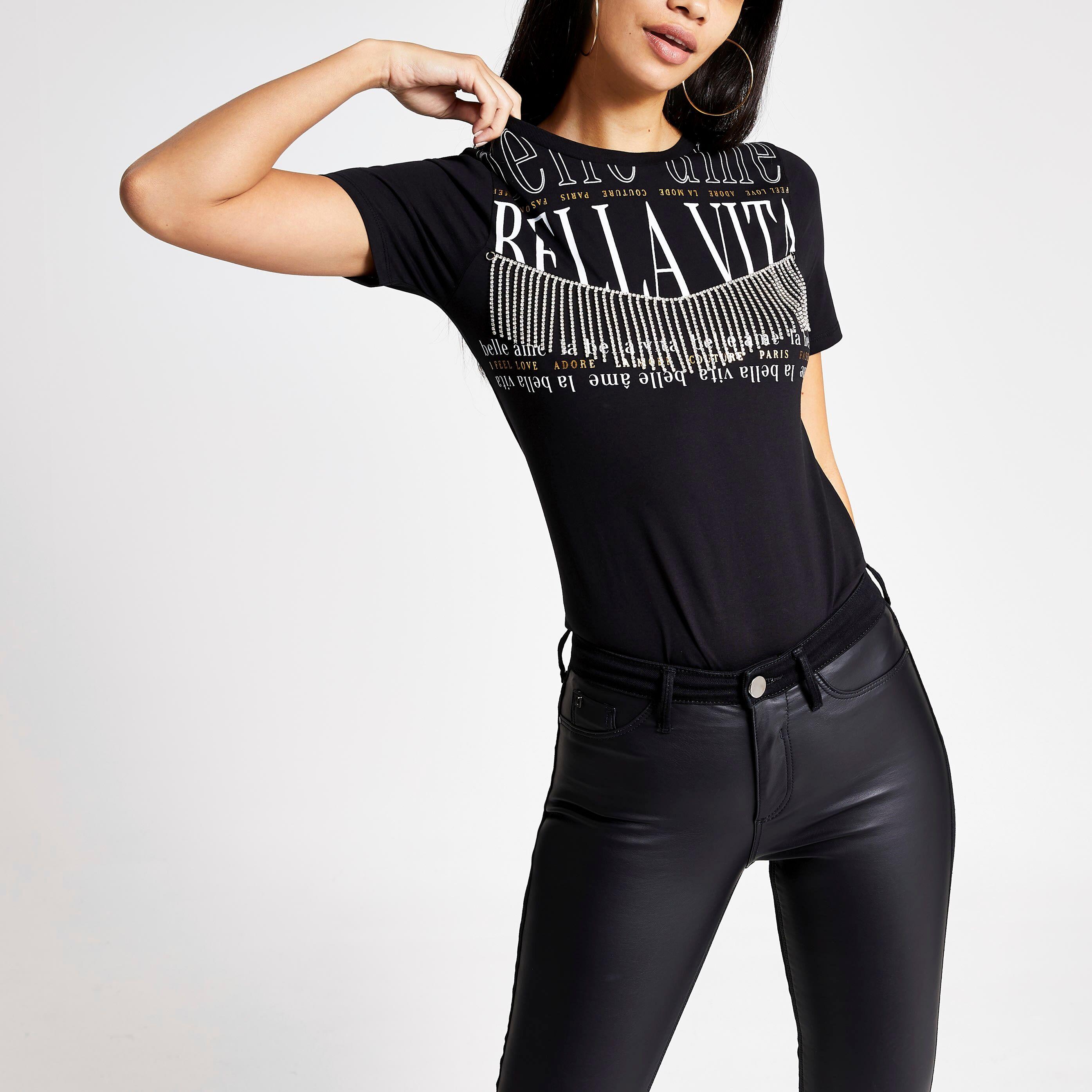 River Island Womens Black printed diamante tassel T-shirt (16)