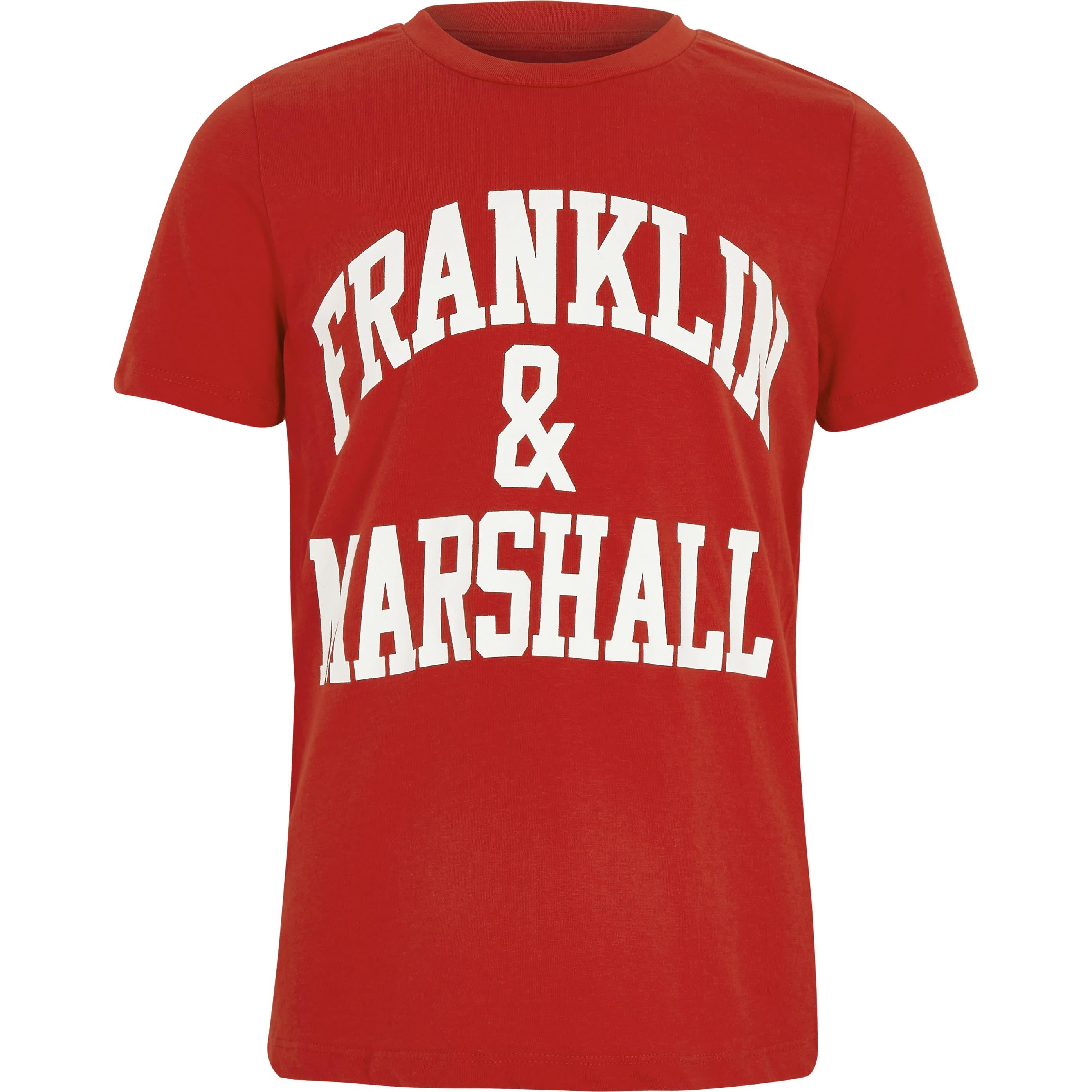 River Island Mens Boys Franklin & Marshall Red print T-shirt (6-7Yrs)